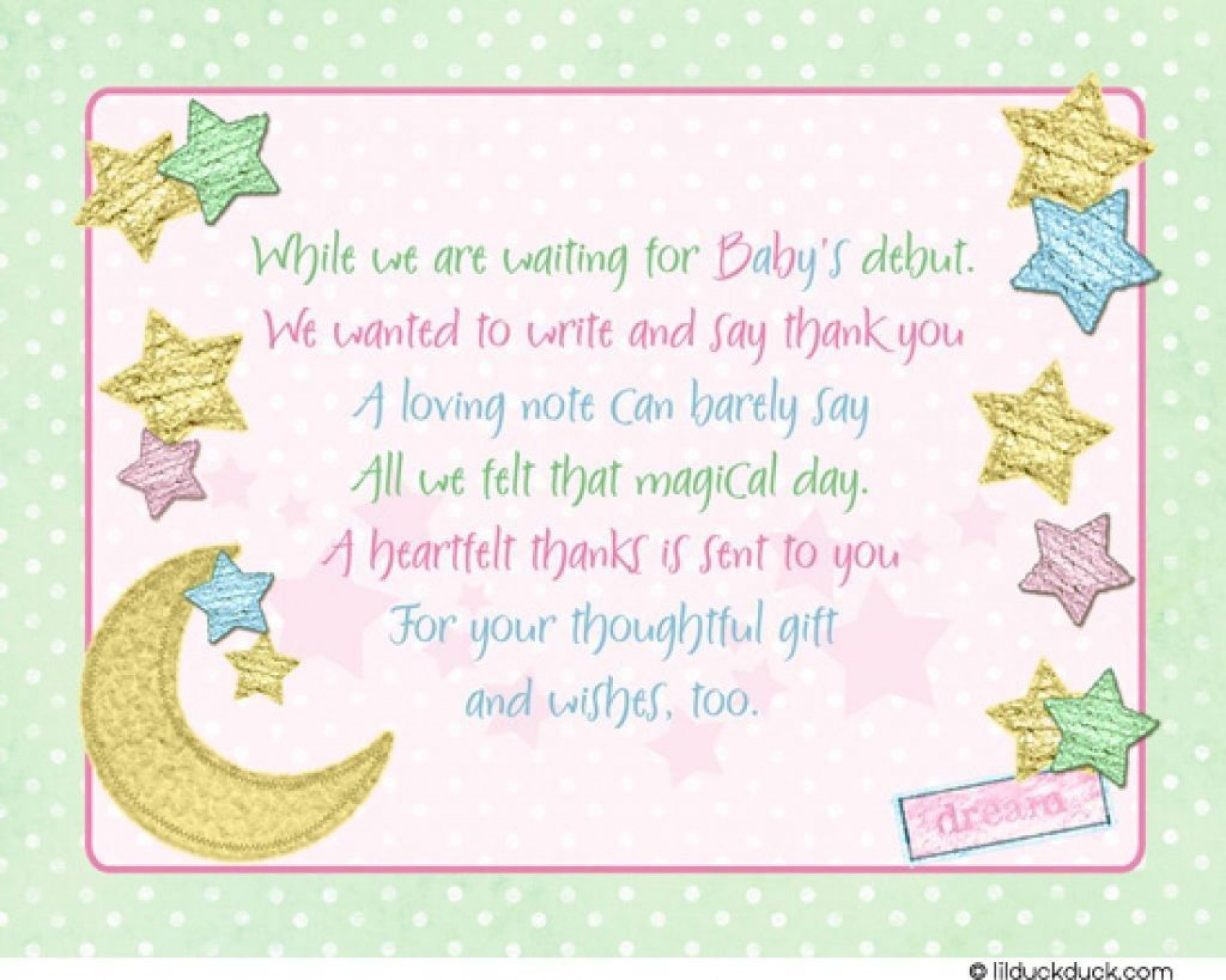 007 Exceptional Thank You Note Wording Baby Shower Sample  For Hosting Card1920