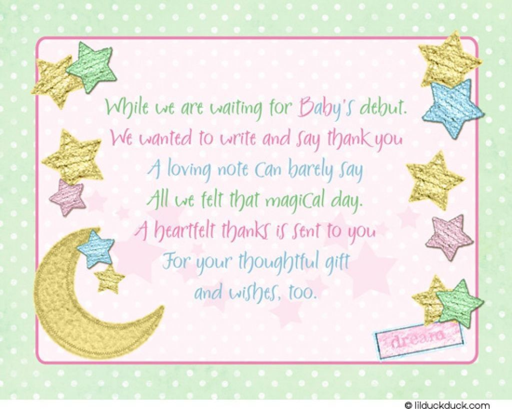 007 Exceptional Thank You Note Wording Baby Shower Sample  For Hosting CardFull