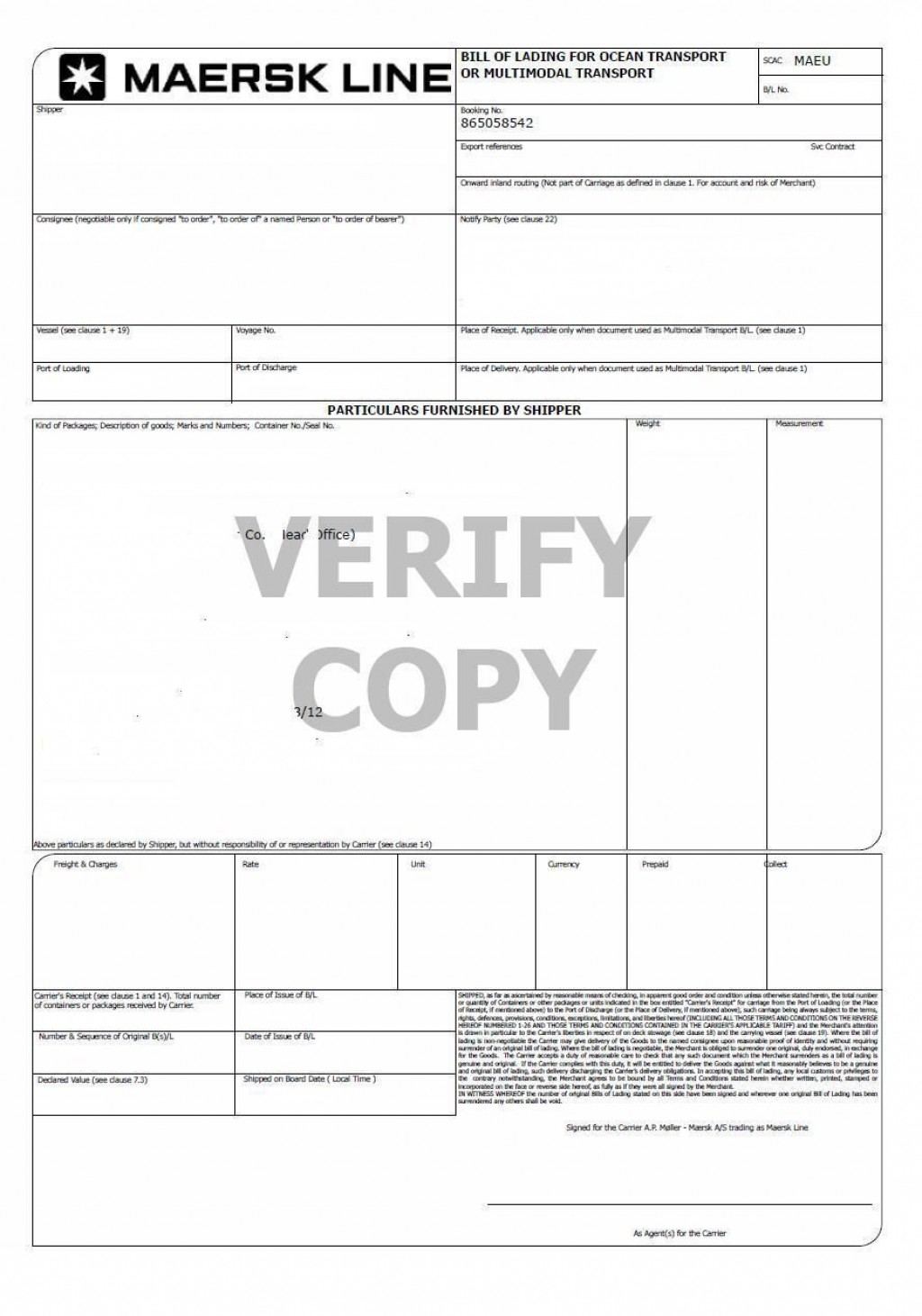 007 Fantastic Bill Of Lading Template Microsoft Word Picture Large