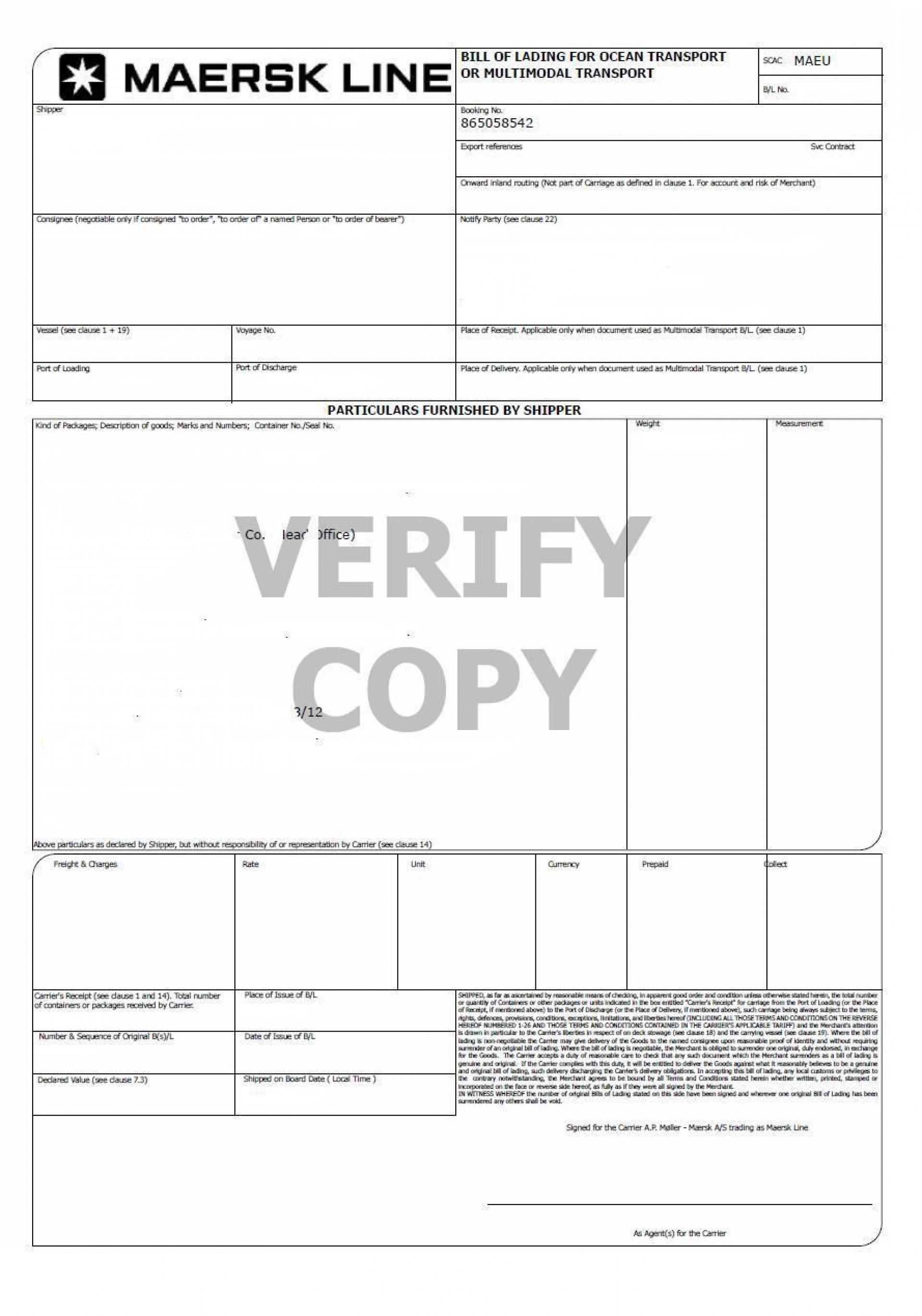 007 Fantastic Bill Of Lading Template Microsoft Word Picture 1920