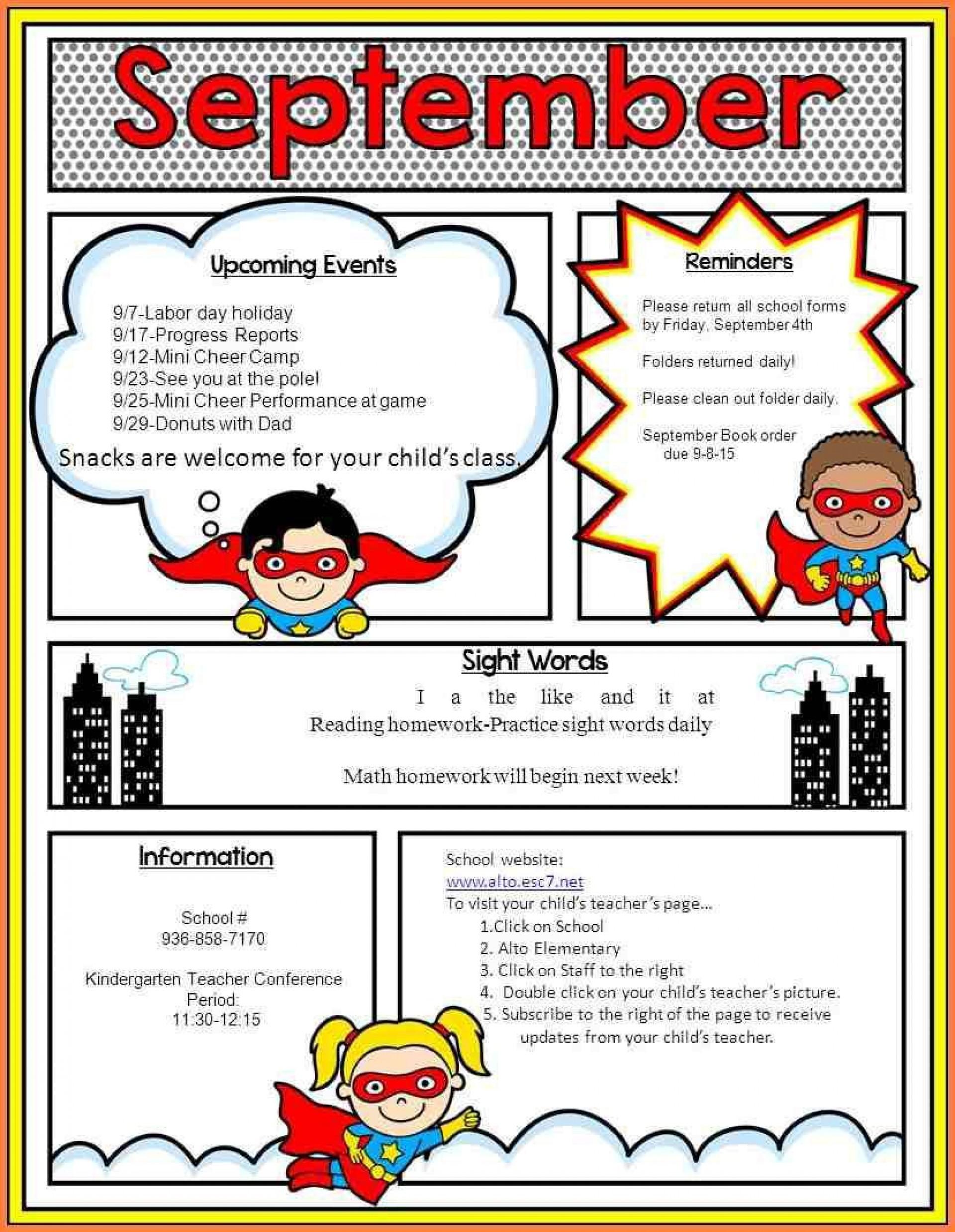 007 Fantastic Elementary School Newsletter Template Inspiration  Clas Teacher Free Counselor1920