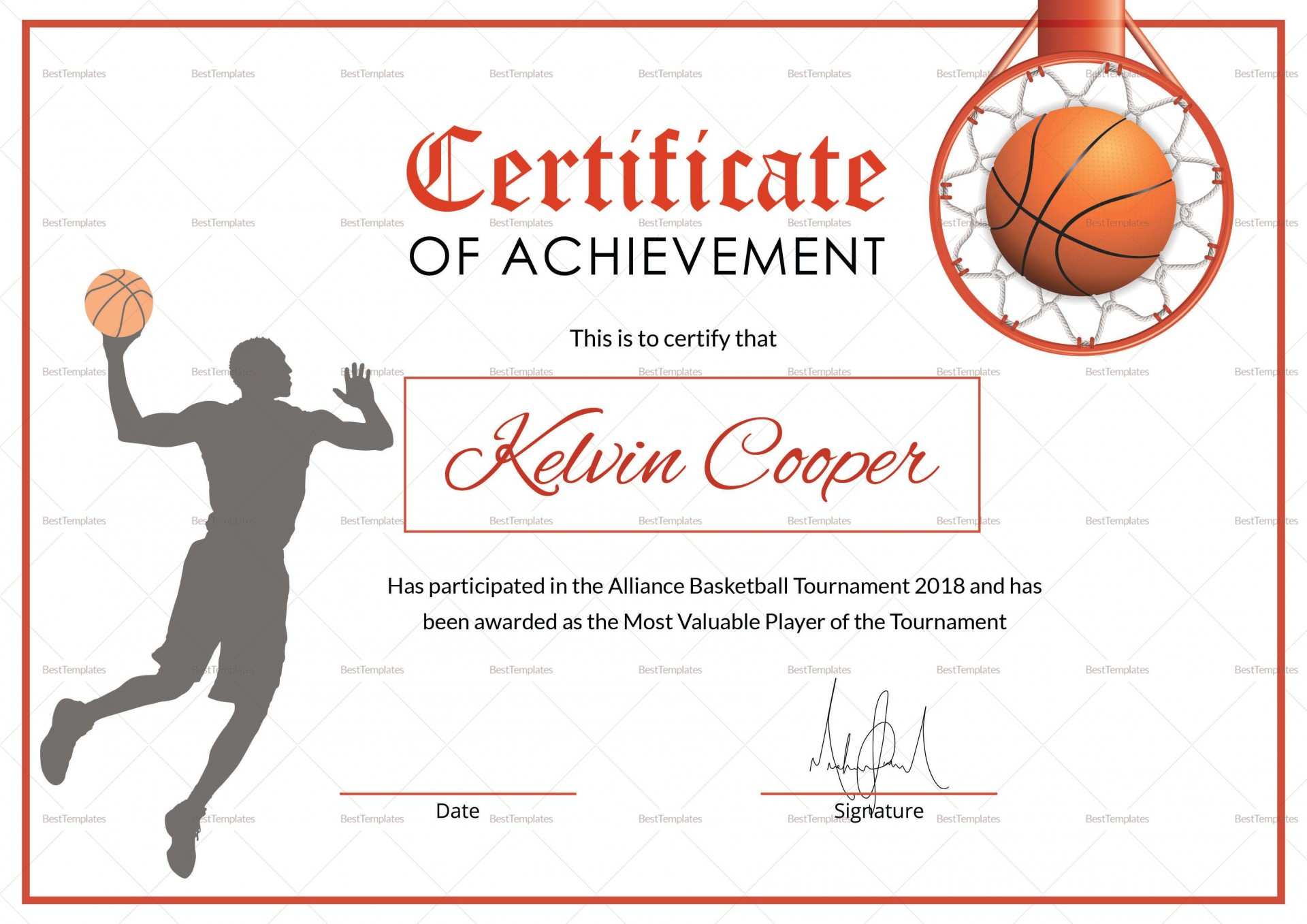 007 Fantastic Free Printable Basketball Certificate Template High Resolution  Templates1920