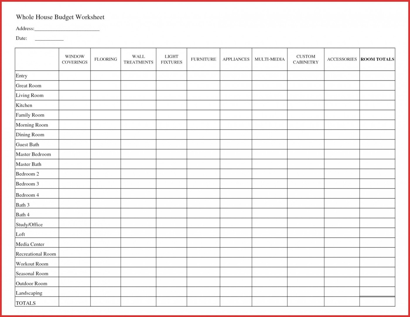 007 Fantastic Free Printable Home Budget Template Design  Form1400