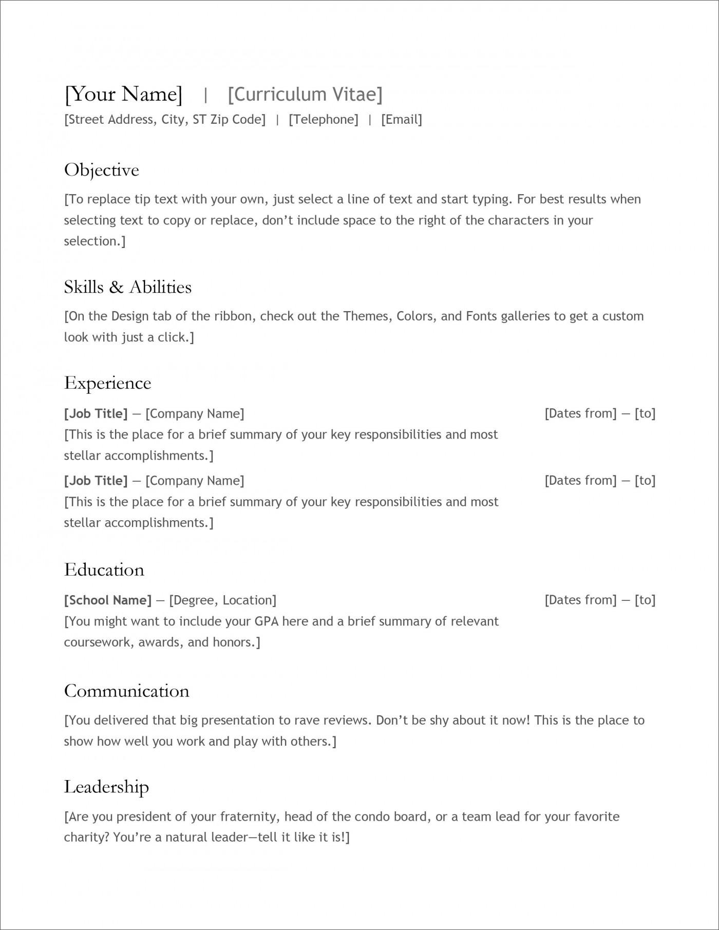 007 Fantastic Free Simple Resume Template Microsoft Word Example 1400