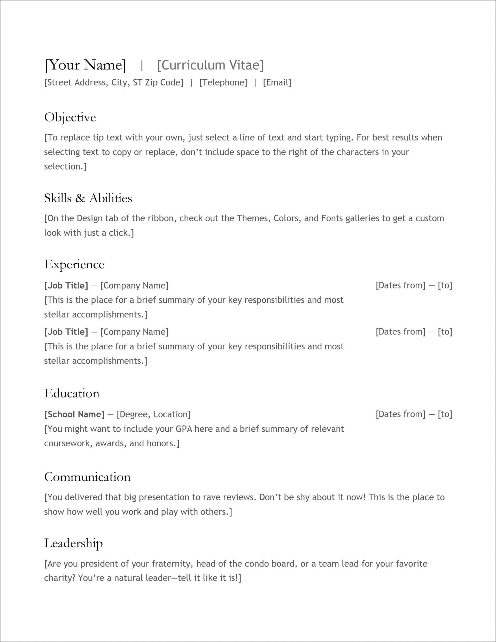 007 Fantastic Free Simple Resume Template Microsoft Word Example 1920