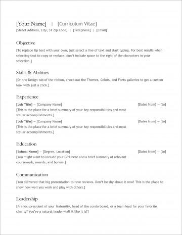007 Fantastic Free Simple Resume Template Microsoft Word Example 360