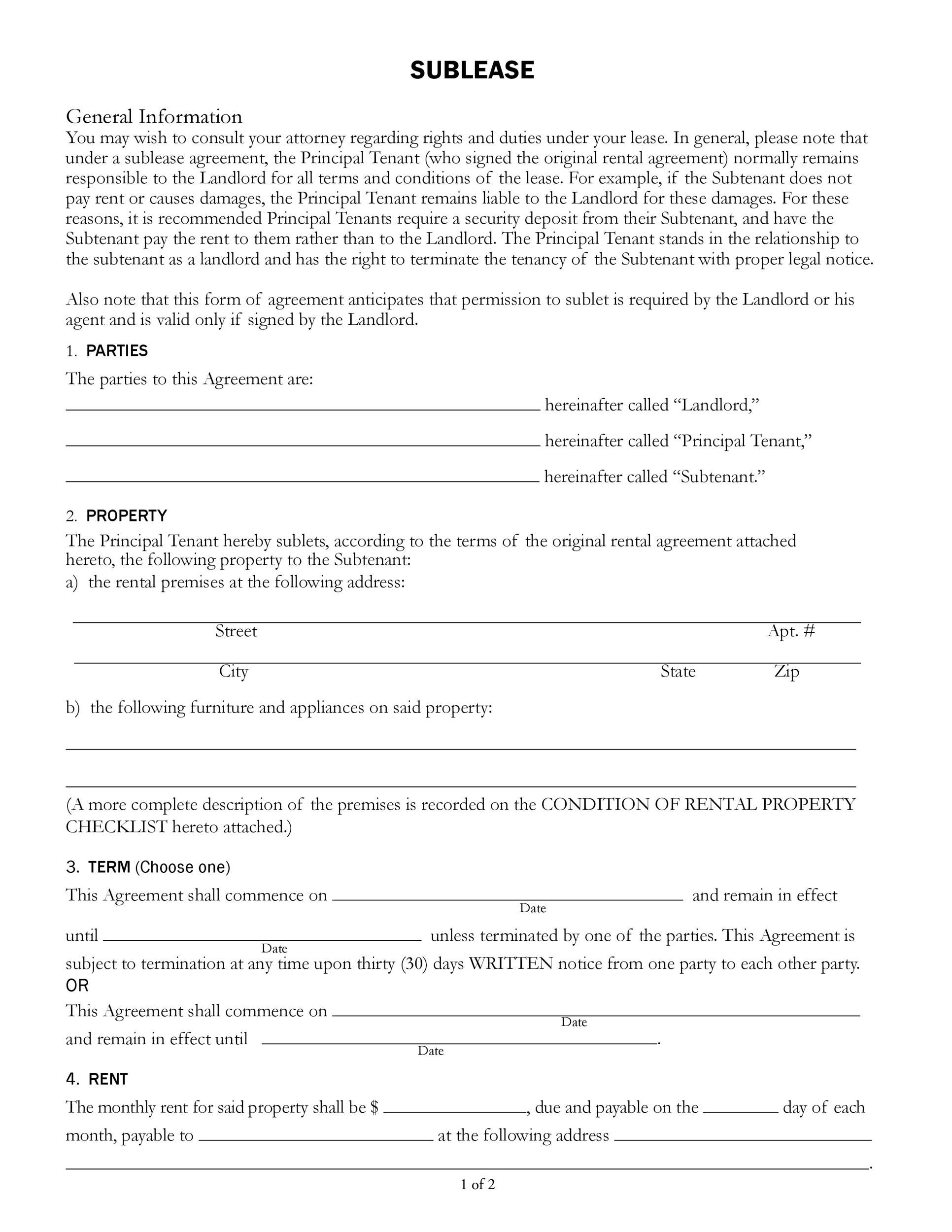 007 Fantastic Free Sublease Agreement Template Sample  Lease Word South AfricaFull