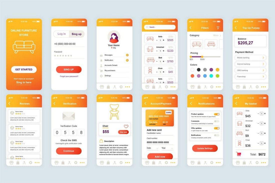 007 Fantastic Mobile App Design Template Image  Size Free Download Ui PsdFull