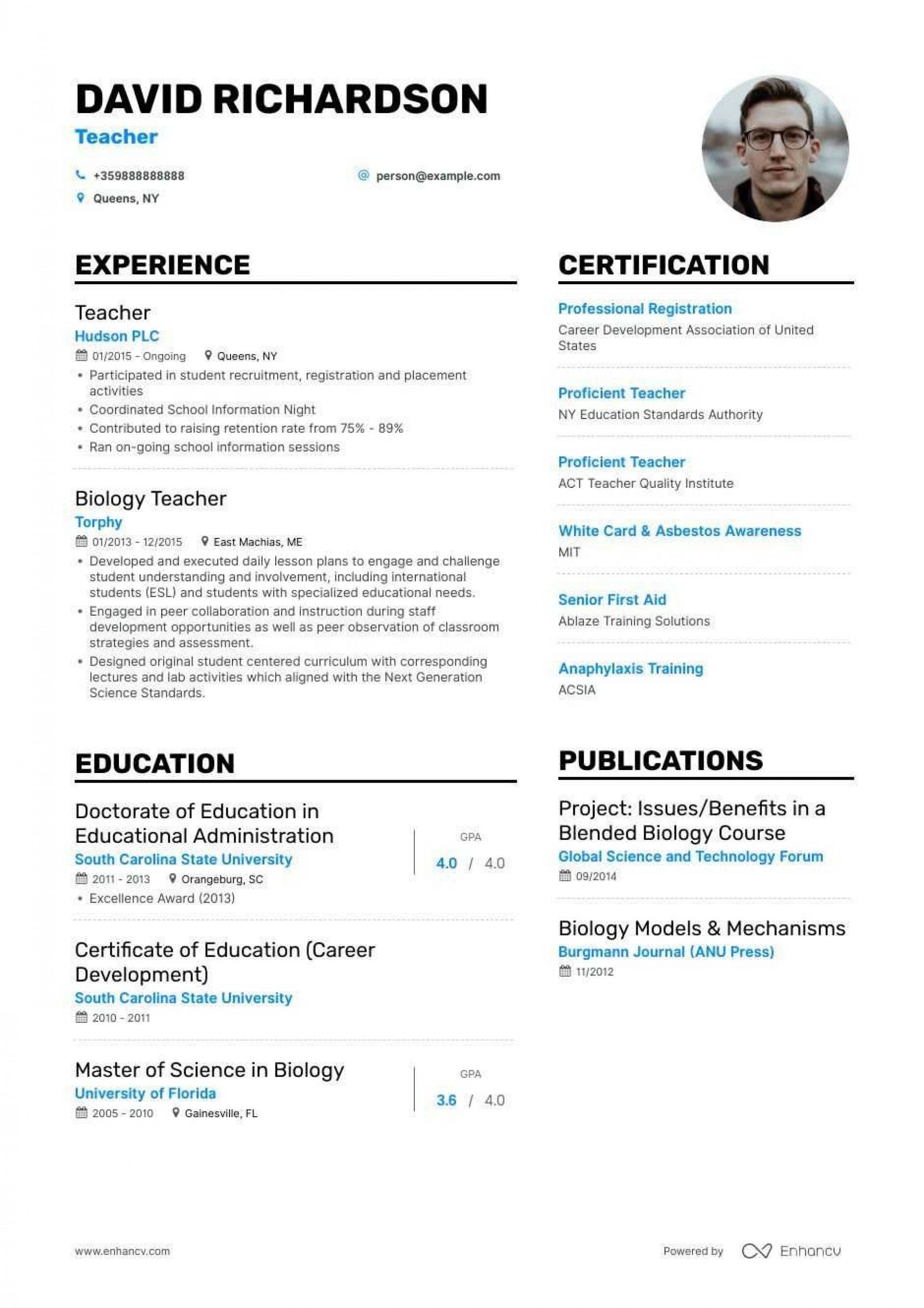 007 Fantastic Resume Template For Teaching Job Picture  Sample Cv In India Format Example Teacher1920