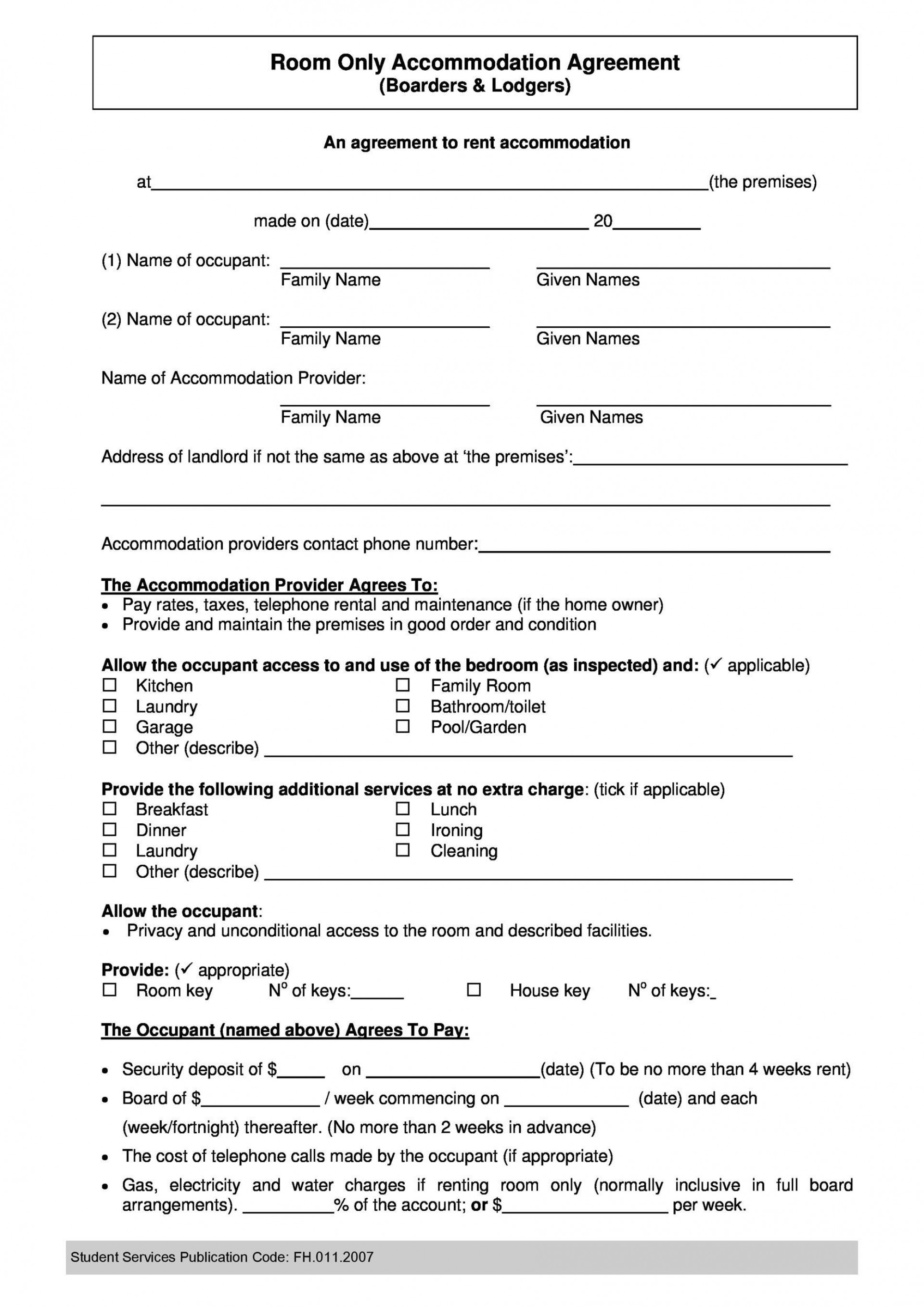 007 Fantastic Roommate Rental Agreement Template Idea  Form Free Contract1920