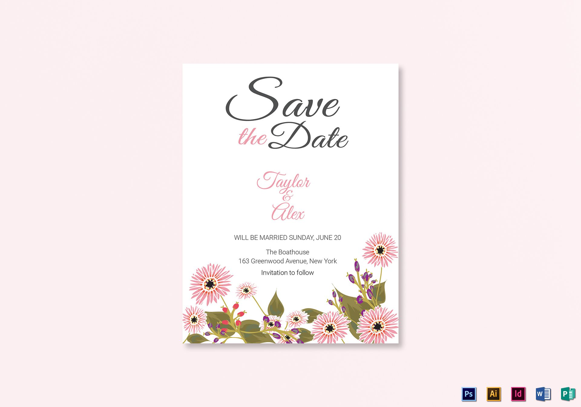 007 Fantastic Save The Date Word Template Photo  Free Birthday For Microsoft Postcard FlyerFull