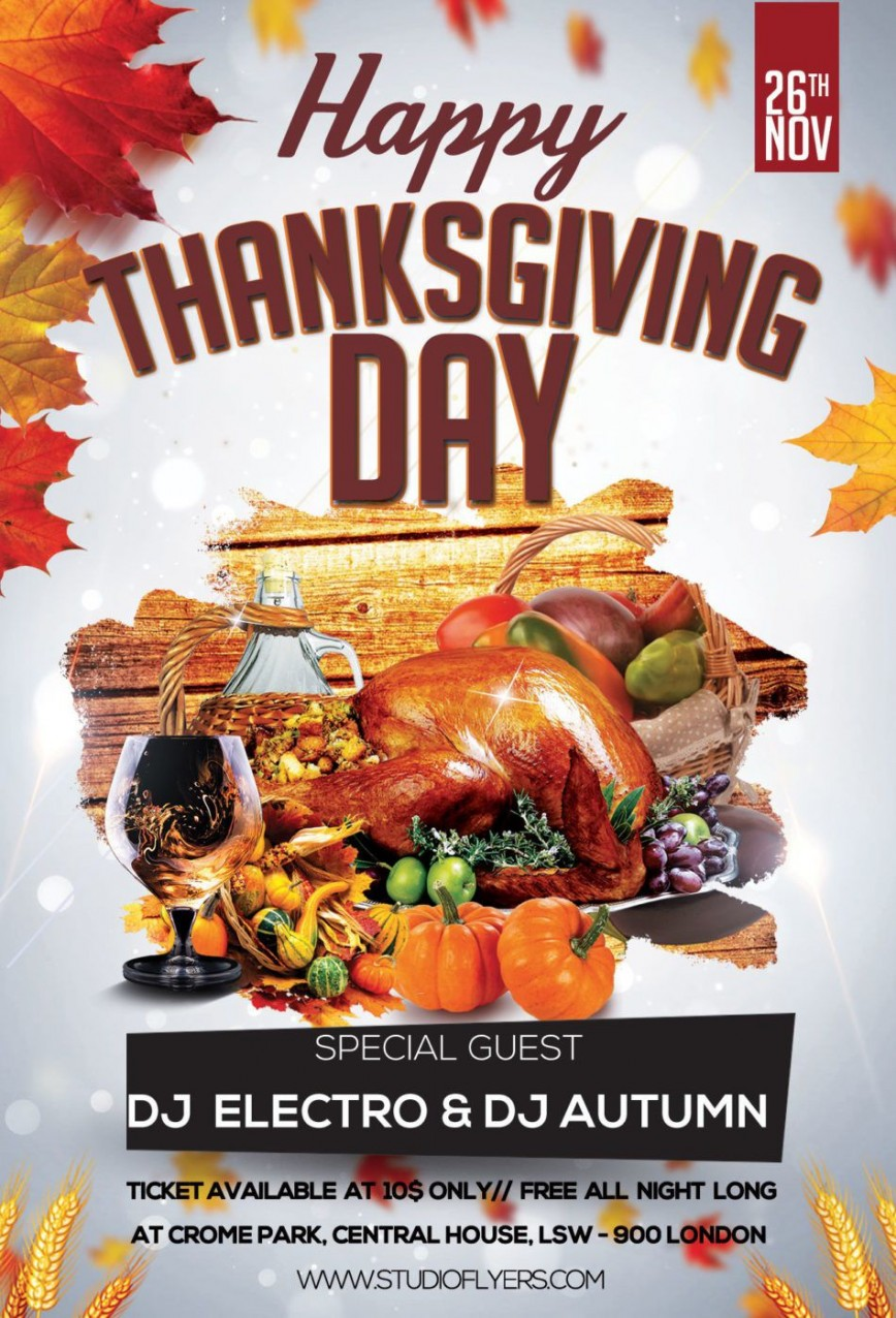 007 Fantastic Thanksgiving Flyer Template Free Example  Party Microsoft