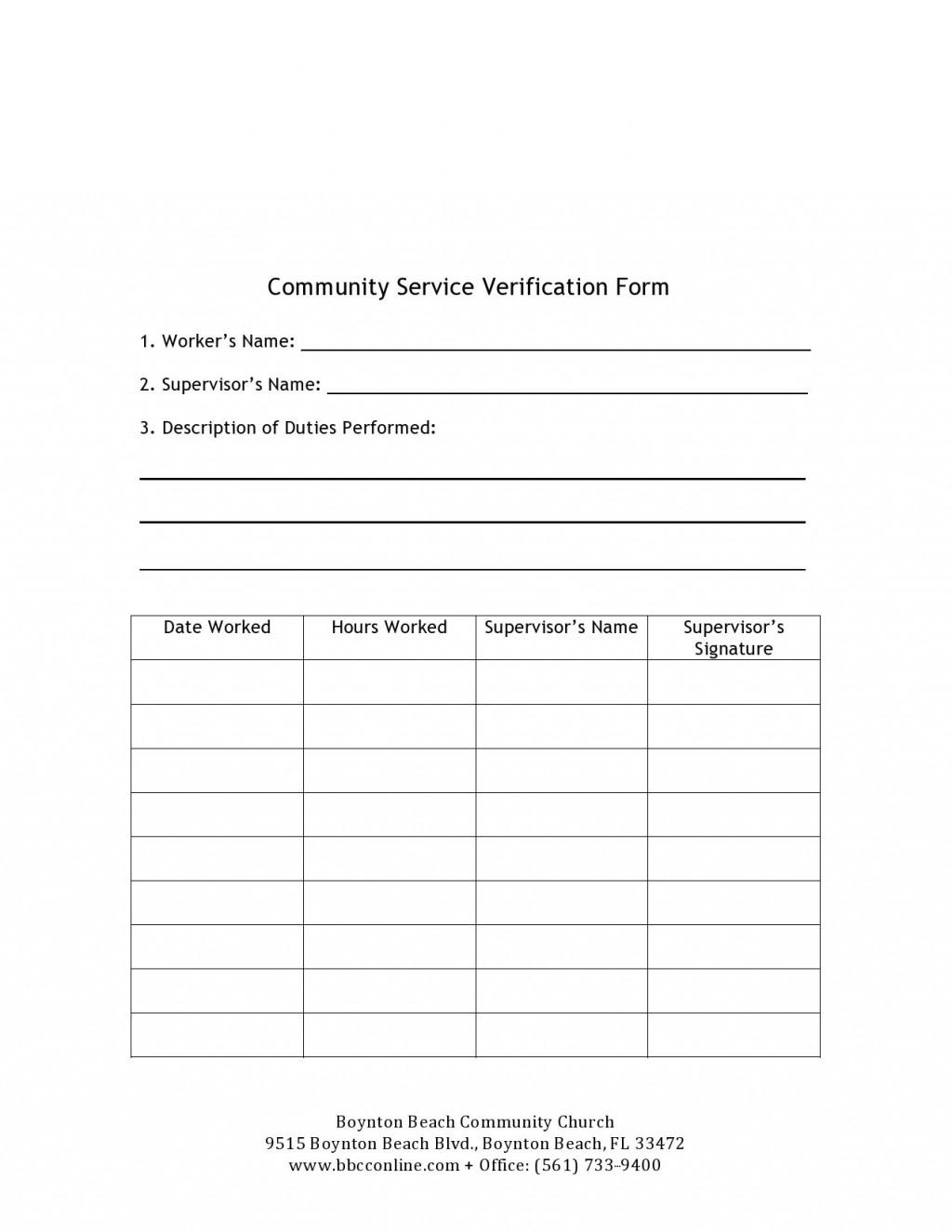007 Fantastic Volunteer Hour Form Template High Definition  Service Community PdfLarge