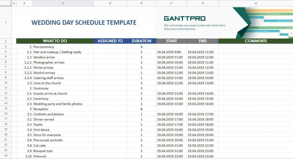 007 Fantastic Wedding Day Schedule Template Highest Clarity  Excel Editable Timeline Free WordLarge