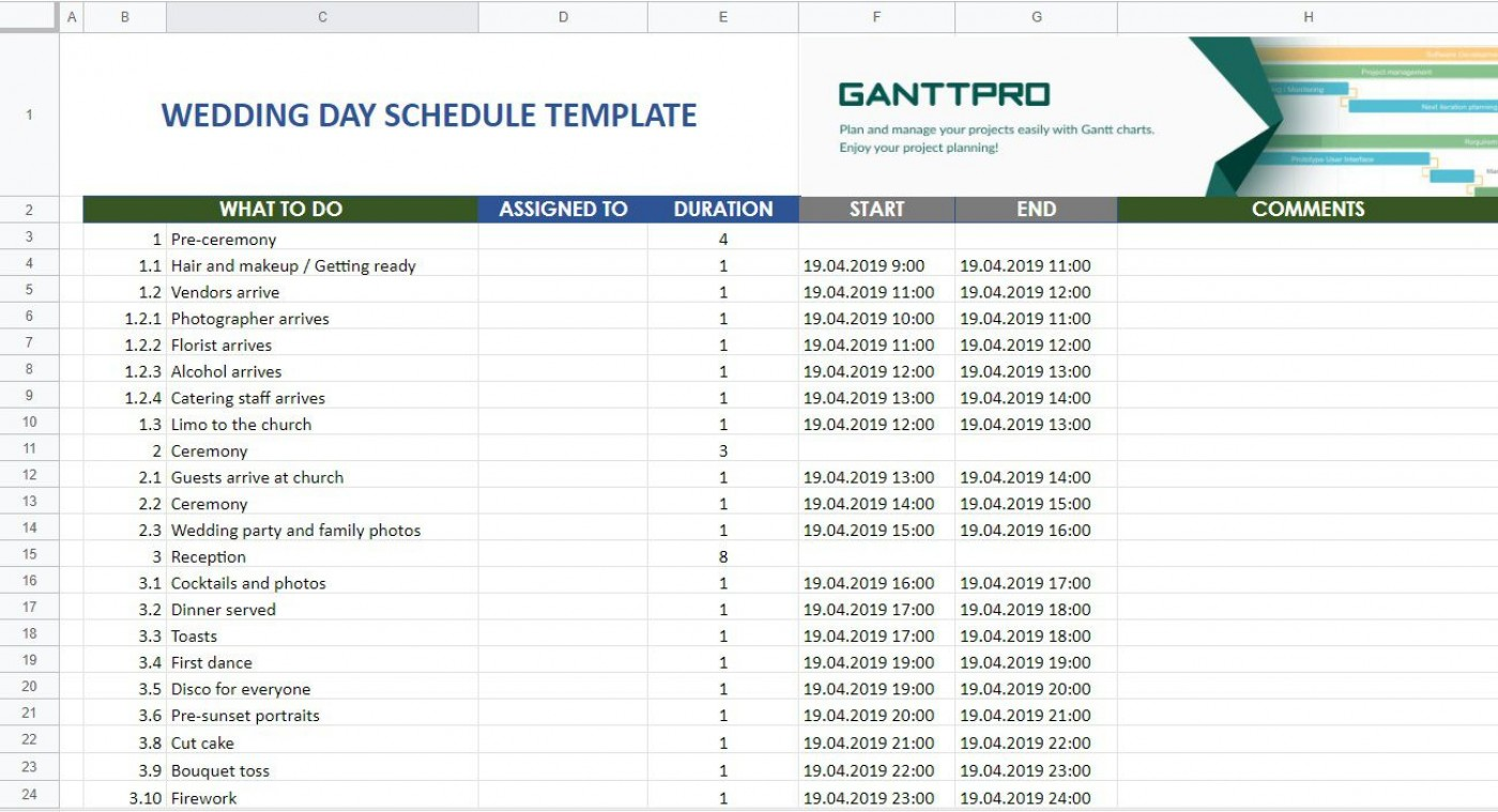 007 Fantastic Wedding Day Schedule Template Highest Clarity  Excel Editable Timeline Free Word1400