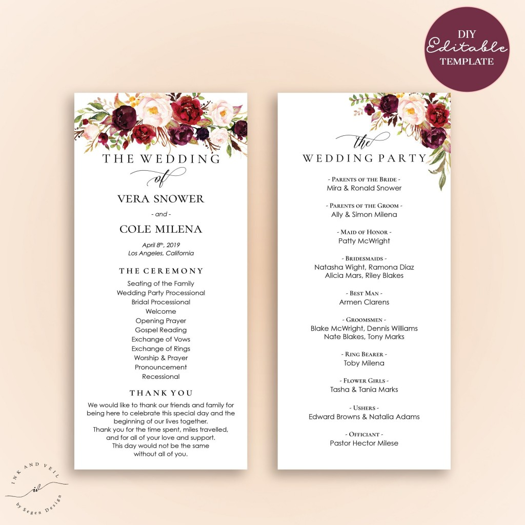 007 Fantastic Wedding Reception Program Template Example  Templates Layout Free Download Ceremony AndLarge