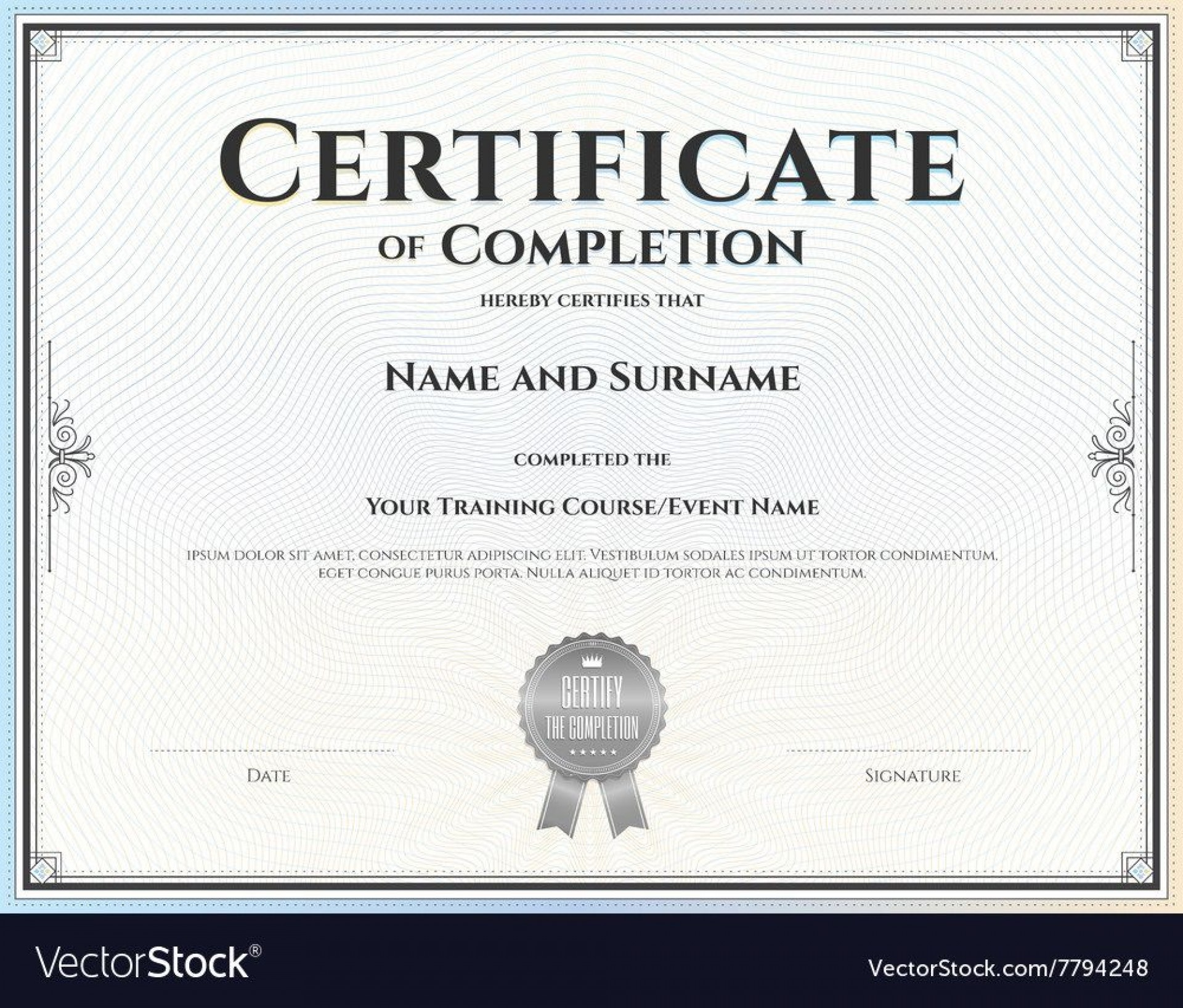 007 Fascinating Free Certificate Of Completion Template Image  Blank Printable Download Word Pdf1920