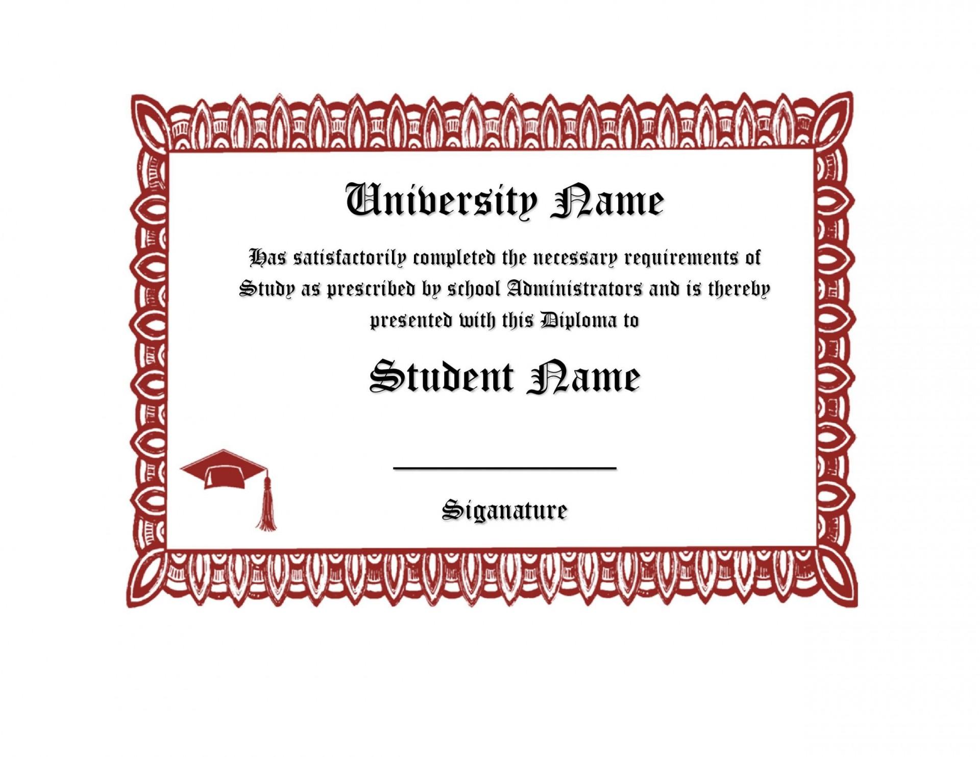 007 Fascinating Free High School Diploma Template Sample  Templates Print Out Editable Printable1920
