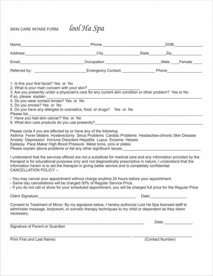007 Fascinating Free Patient Intake Form Template Concept  New Client Massage