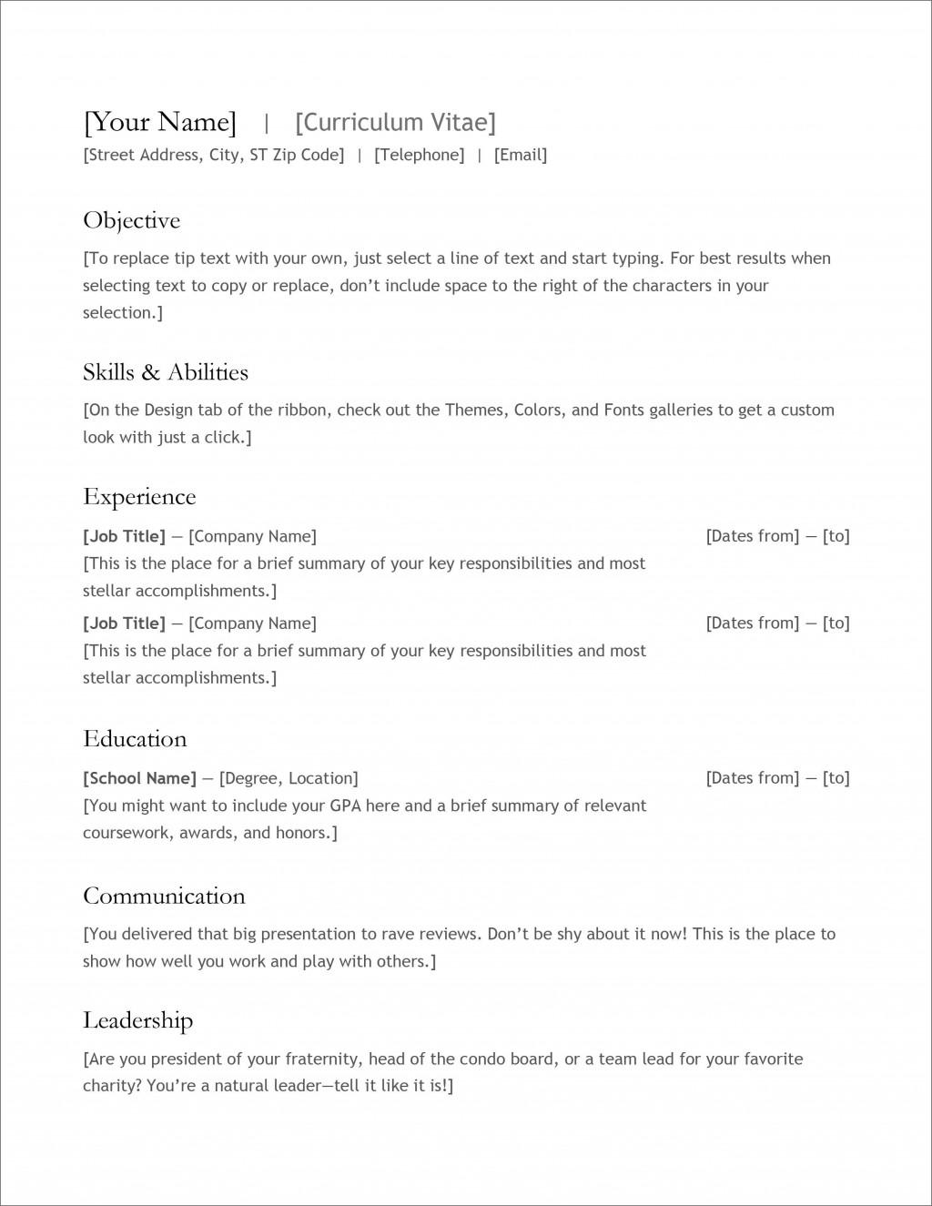 007 Fascinating Free Professional Resume Template Microsoft Word Inspiration  Cv 2010Large