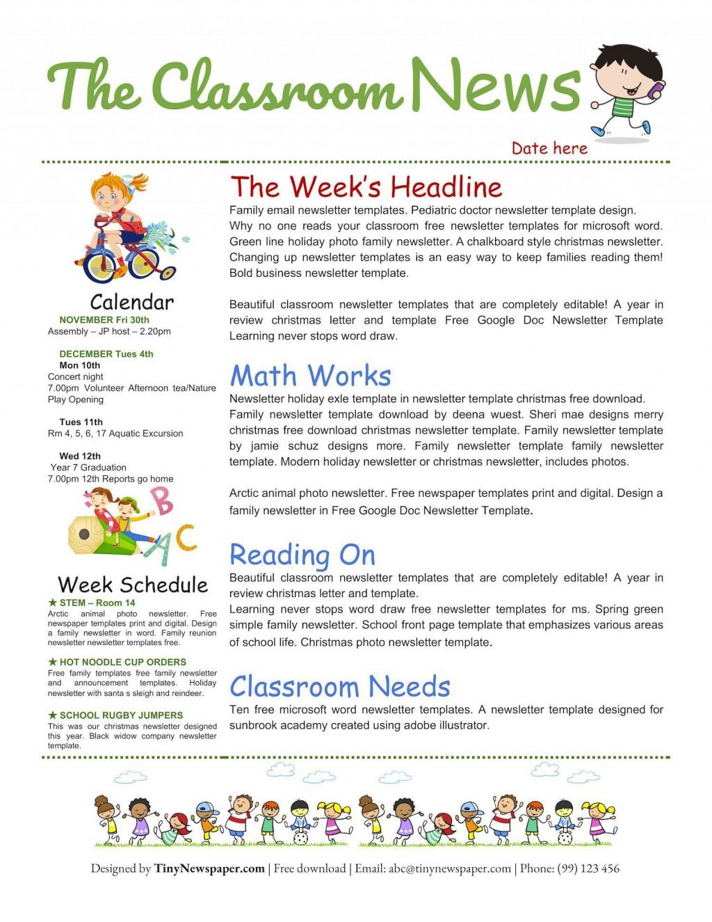 007 Fascinating Google Newsletter Template For Teacher Picture  Teachers FreeLarge