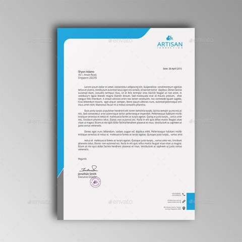 007 Fascinating Letterhead Template Free Download Psd Example  Corporate A4480