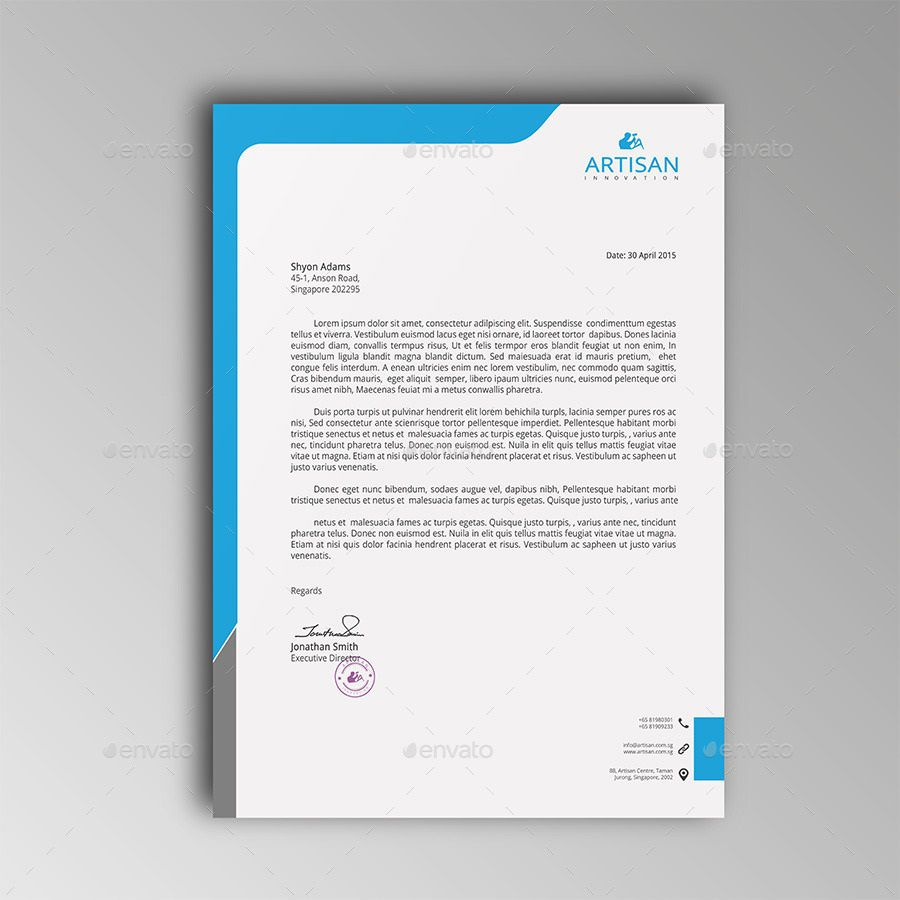 007 Fascinating Letterhead Template Free Download Psd Example  A4 CompanyFull