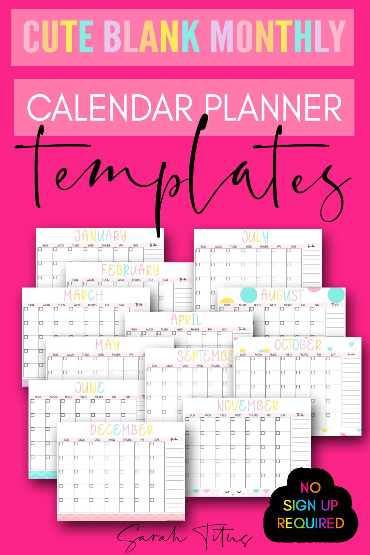 007 Fascinating Printable Blank Monthly Calendar Template Image  PdfFull