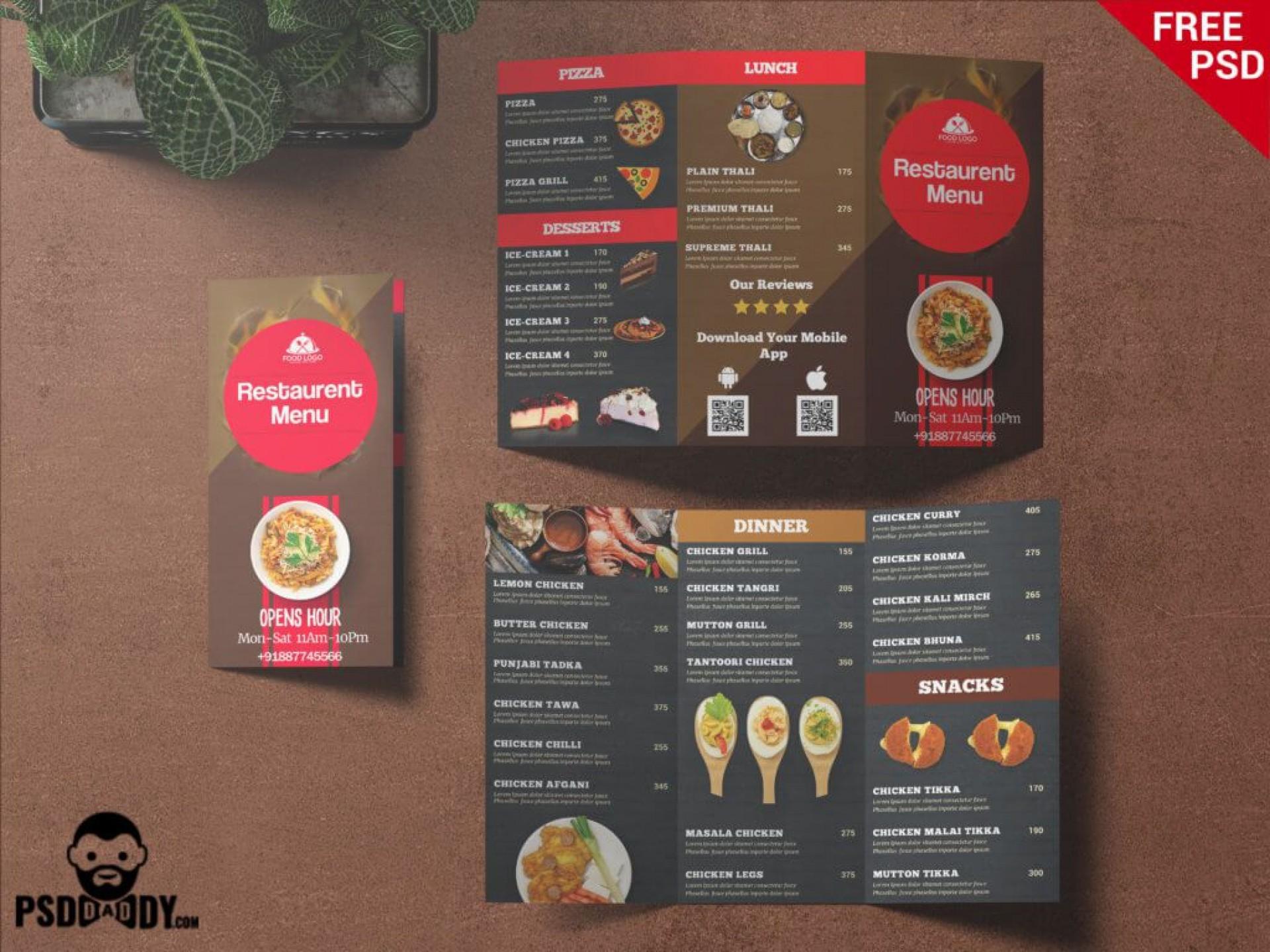 007 Fascinating Tri Fold Menu Template Idea  Templates Restaurant Tri-fold Food Free Psd1920