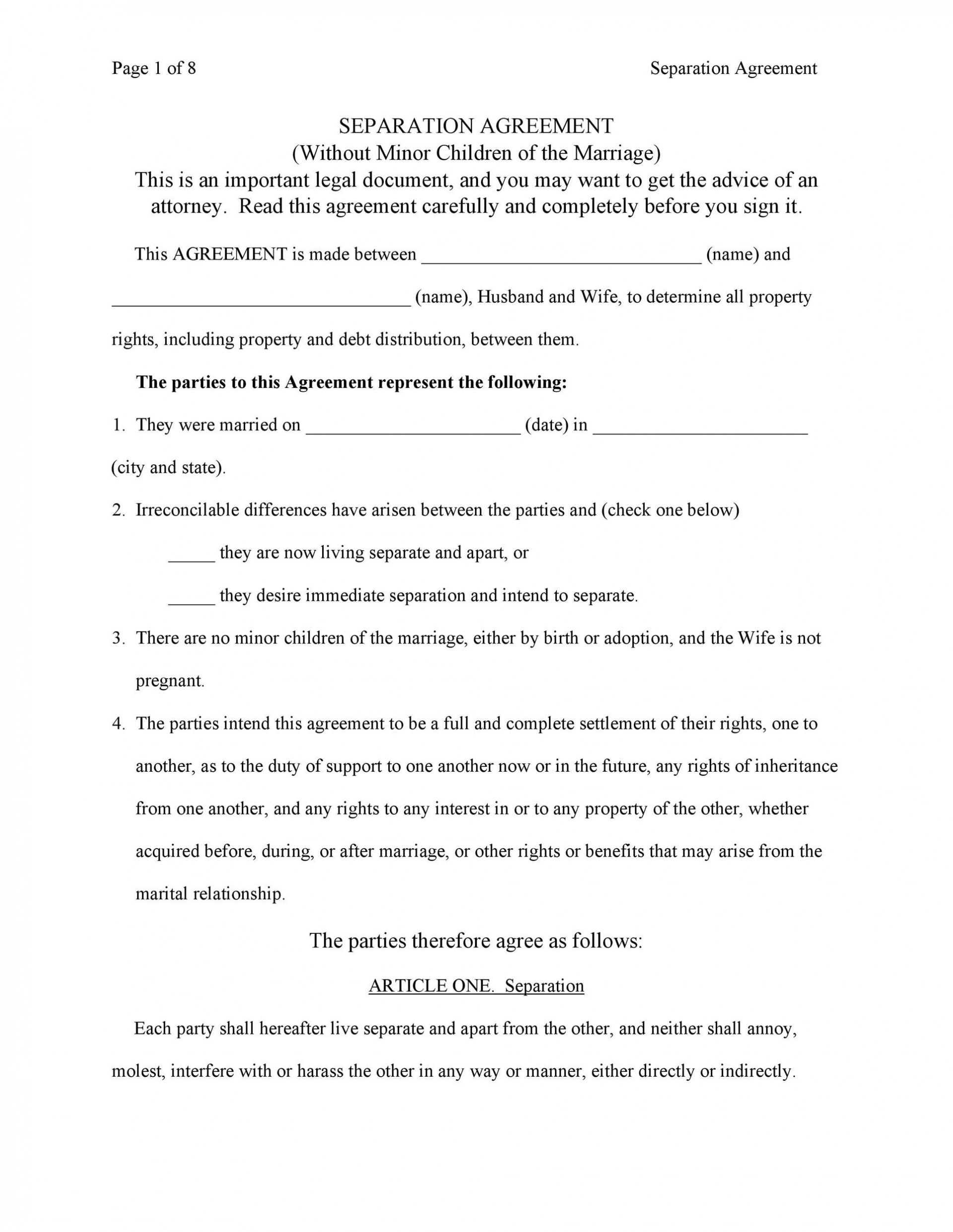 007 Fascinating Virginia Separation Agreement Template Highest Clarity  Marital Marriage1920