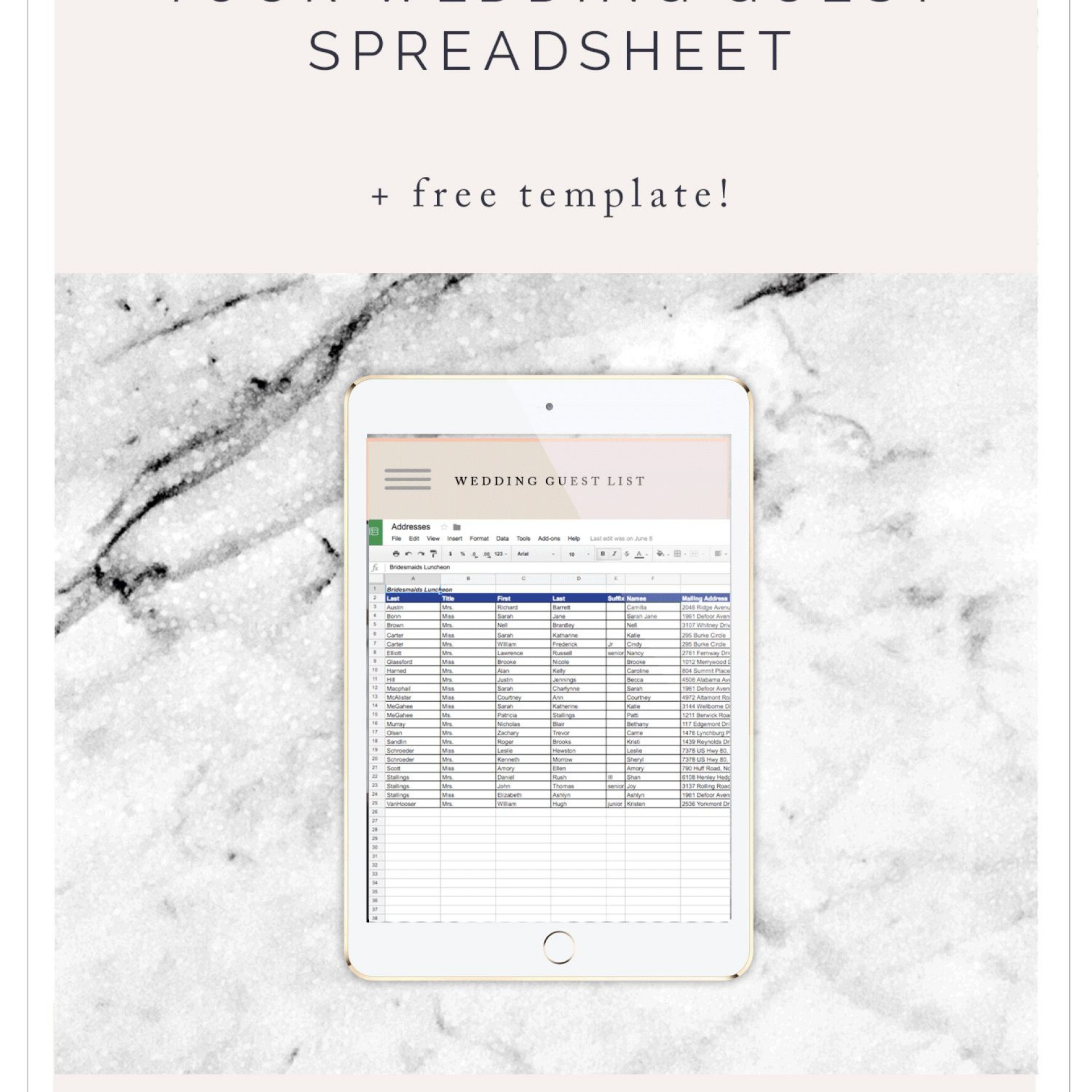 Wedding Guest List Template Excel Addictionary