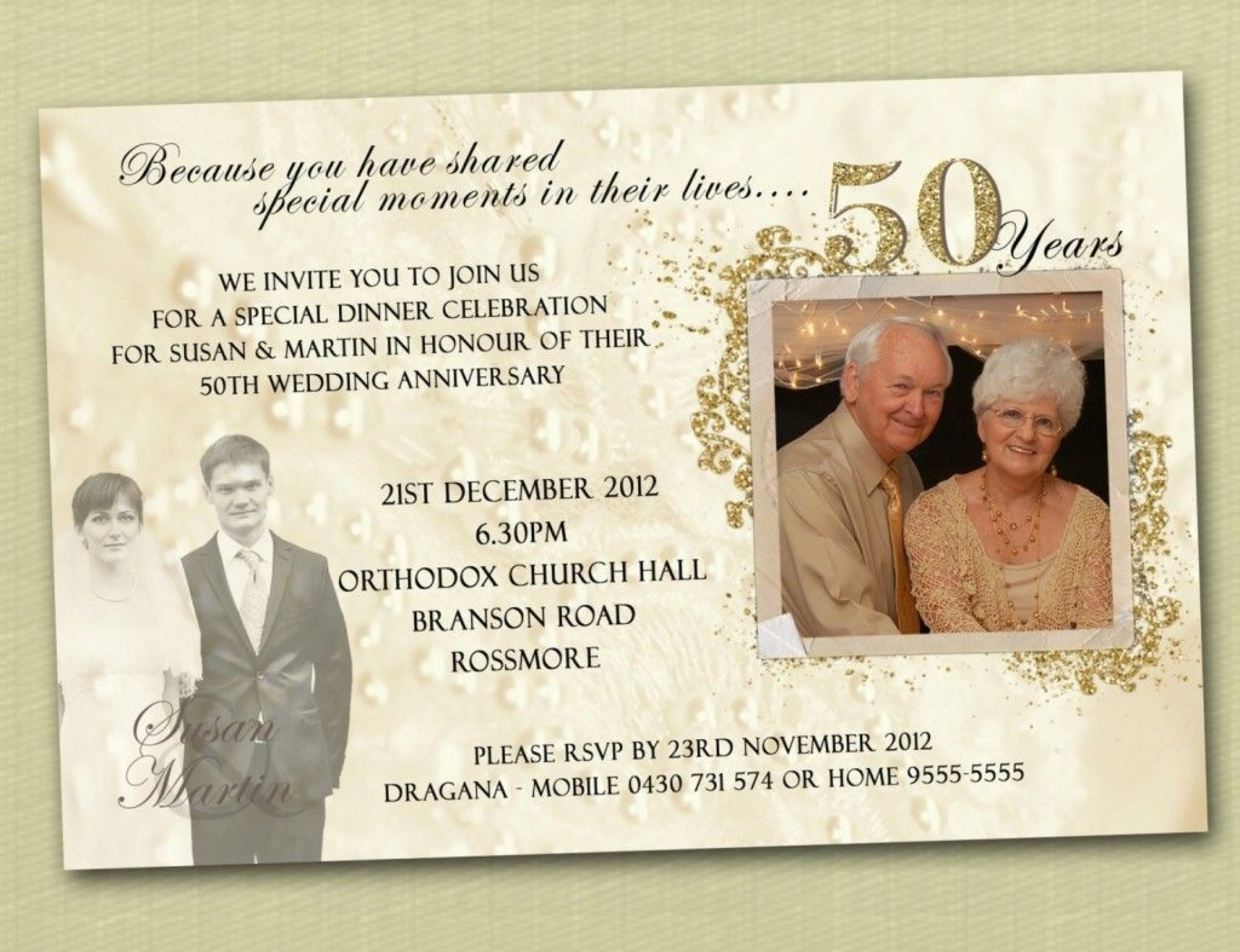 007 Fearsome 50th Wedding Anniversary Invitation Template Idea  Templates Card Sample Golden1920