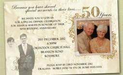 007 Fearsome 50th Wedding Anniversary Invitation Template Idea  Templates Card Sample Golden