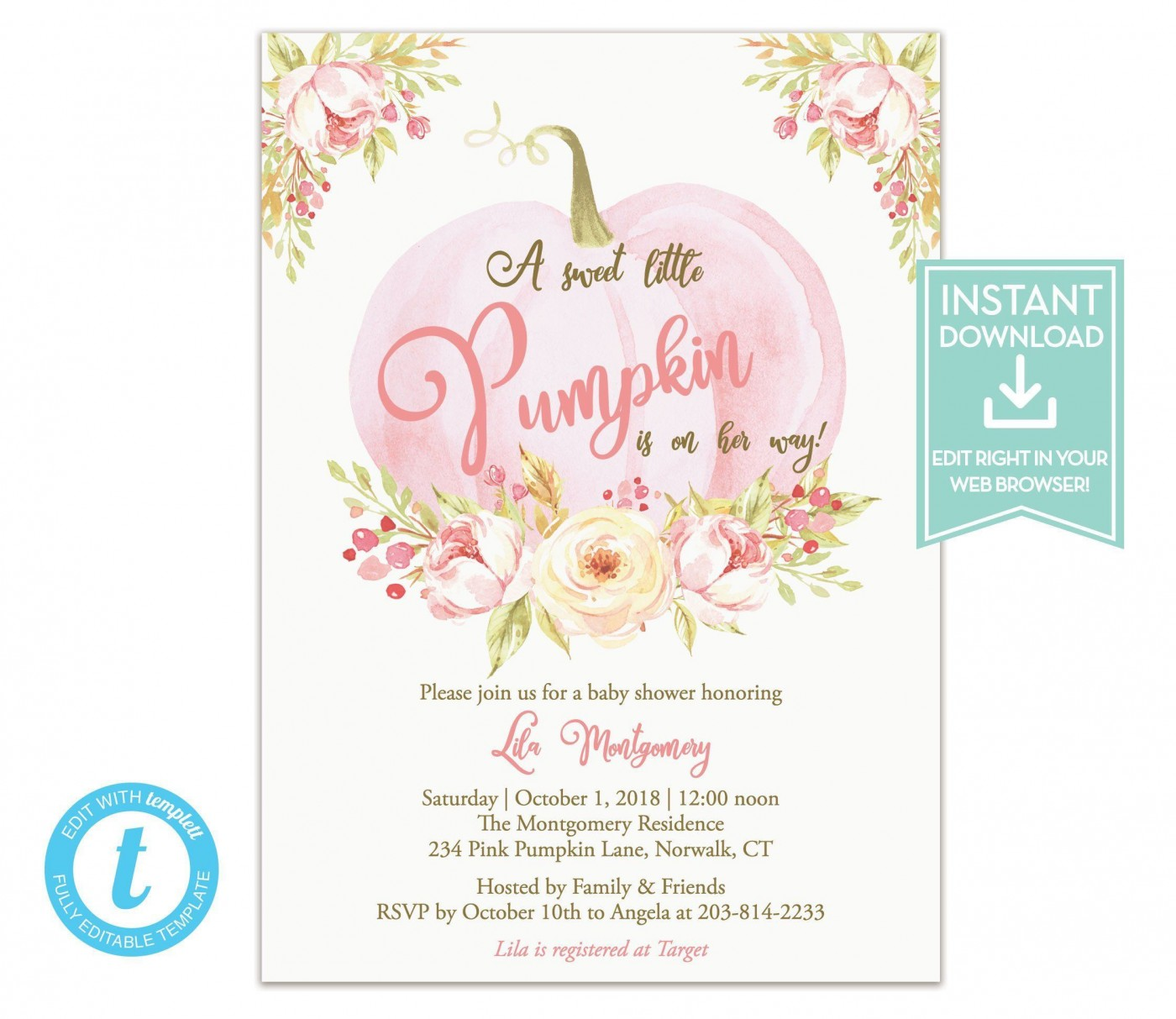 007 Fearsome Baby Shower Invitation Girl Pumpkin High Resolution  Pink Little1400