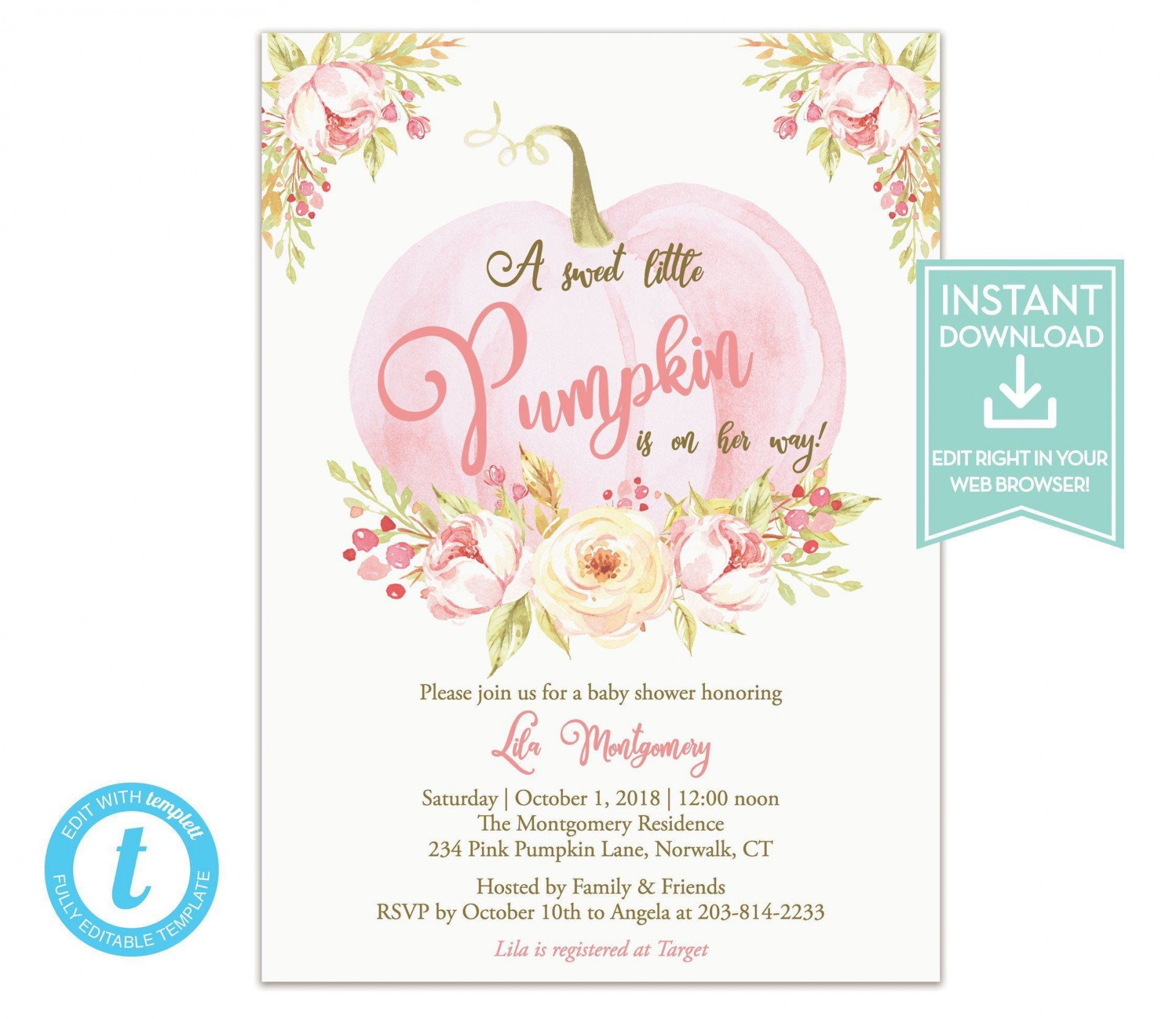 007 Fearsome Baby Shower Invitation Girl Pumpkin High Resolution  Pink Little1920