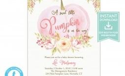 007 Fearsome Baby Shower Invitation Girl Pumpkin High Resolution  Pink Little