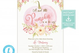007 Fearsome Baby Shower Invitation Girl Pumpkin High Resolution  Pink Little