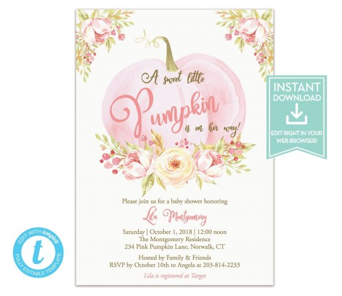 007 Fearsome Baby Shower Invitation Girl Pumpkin High Resolution  Pink Little480