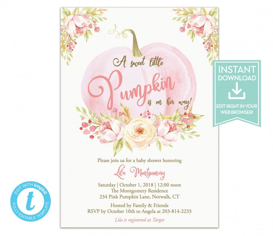 007 Fearsome Baby Shower Invitation Girl Pumpkin High Resolution  Pink Little868
