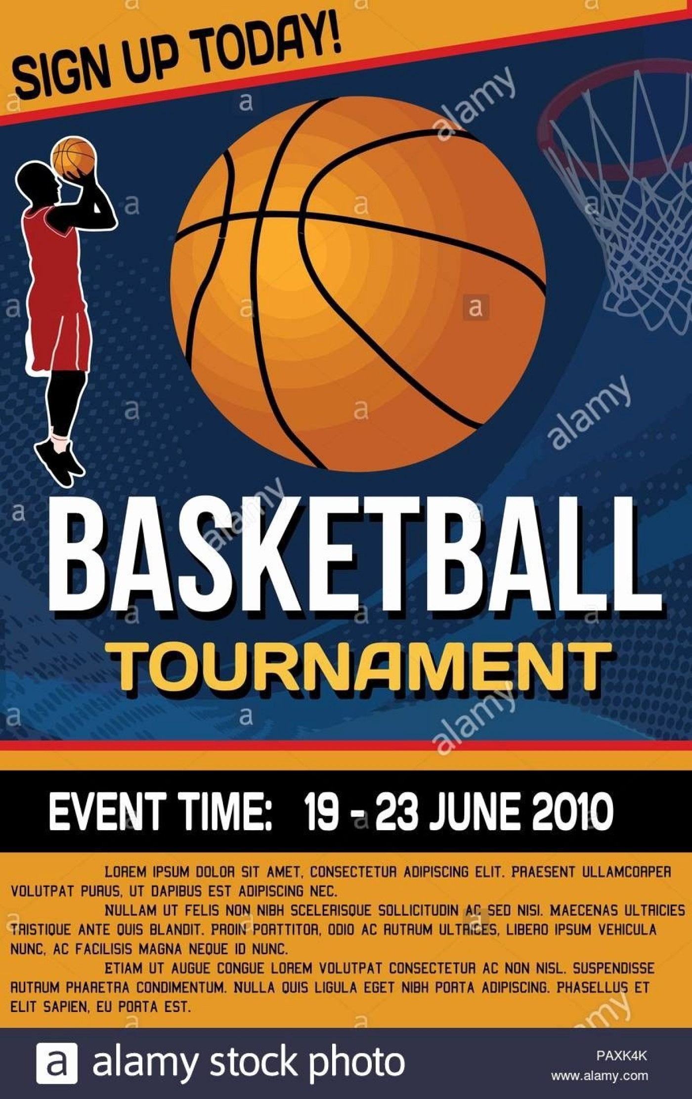007 Fearsome Basketball Tournament Flyer Template Design  3 On Free1400
