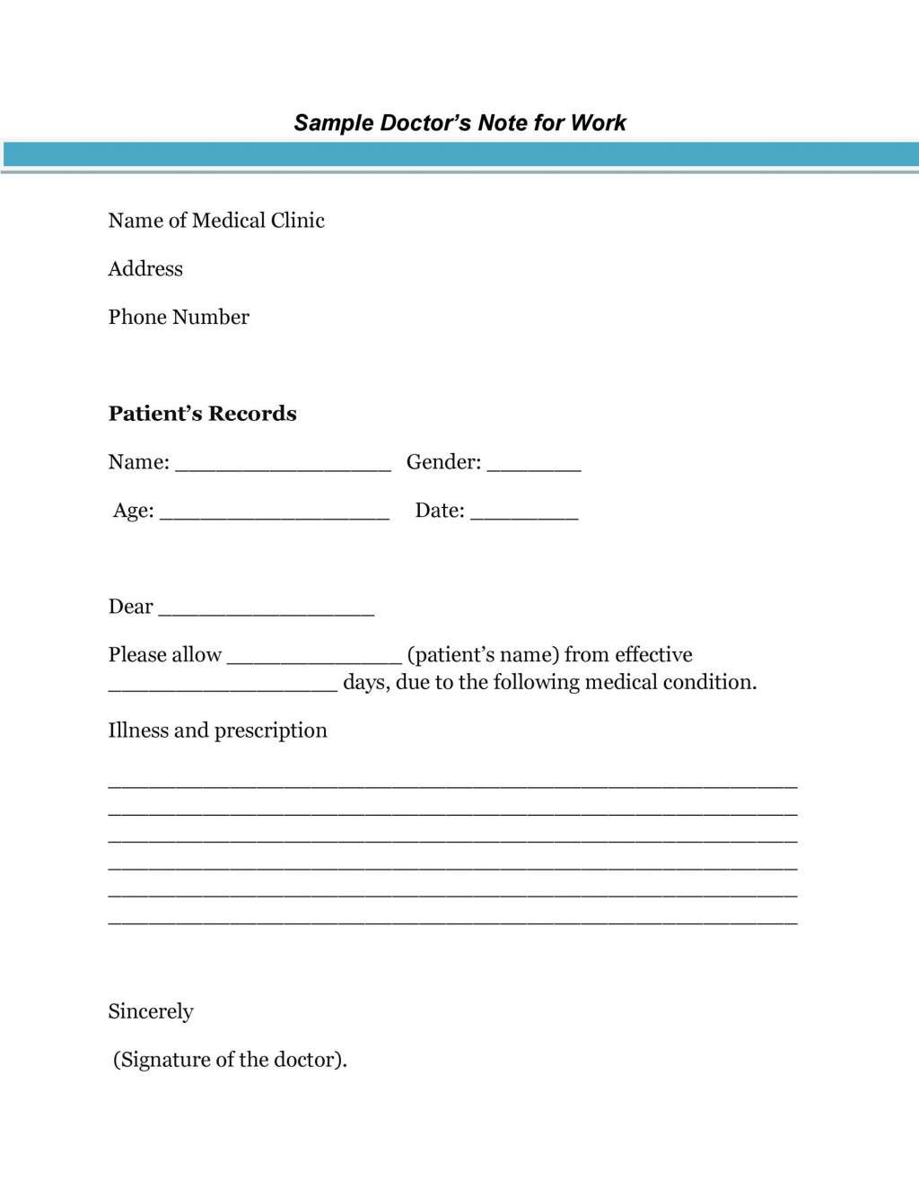 007 Fearsome Doctor Note Template Pdf Idea  Free Sample For WorkLarge