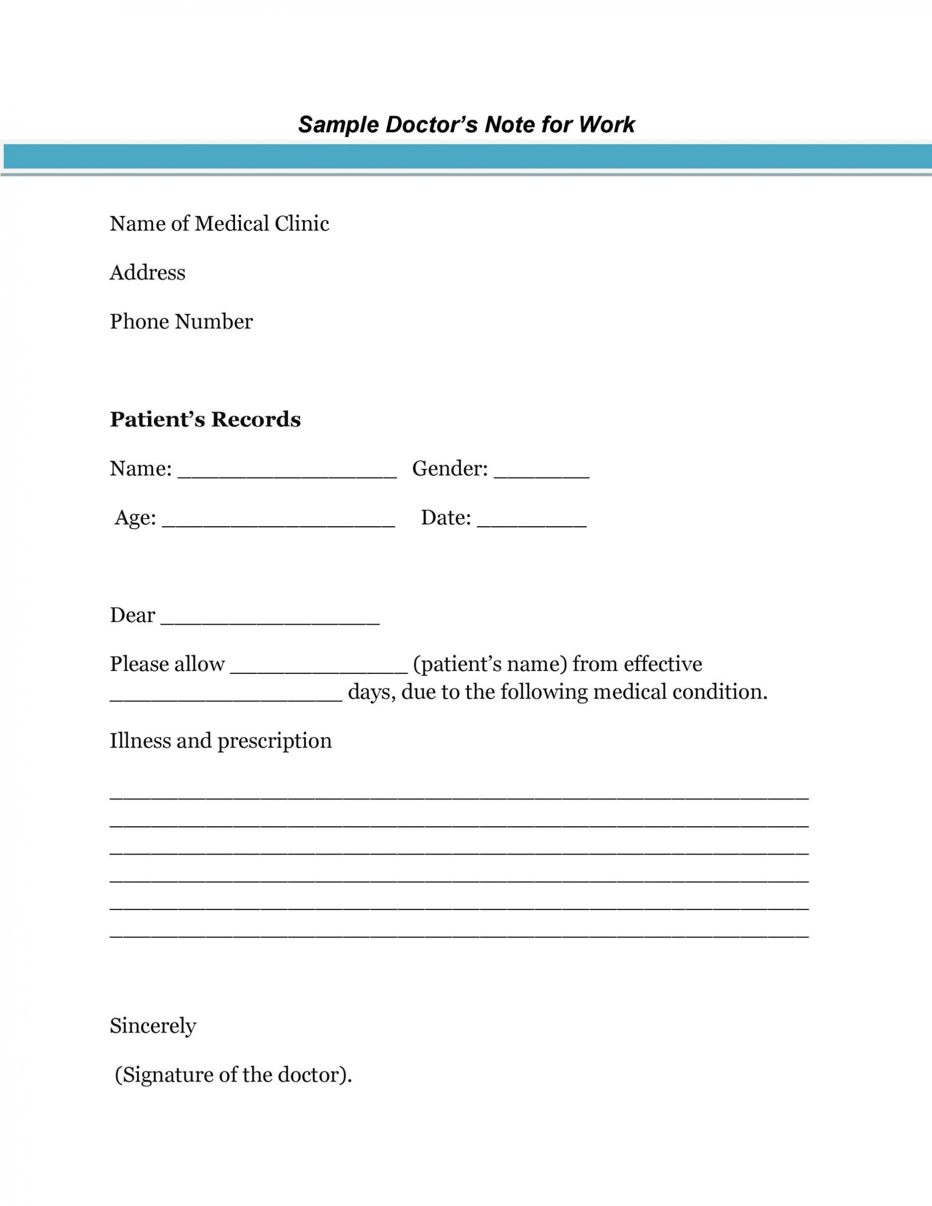 007 Fearsome Doctor Note Template Pdf Idea  Free Sample For Work1920