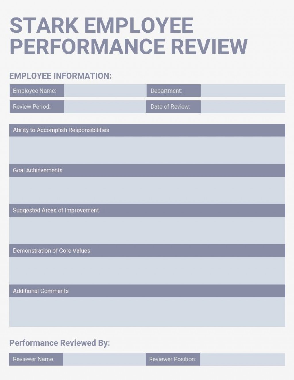 007 Fearsome Employee Performance Review Template Word Picture  Microsoft DocumentLarge