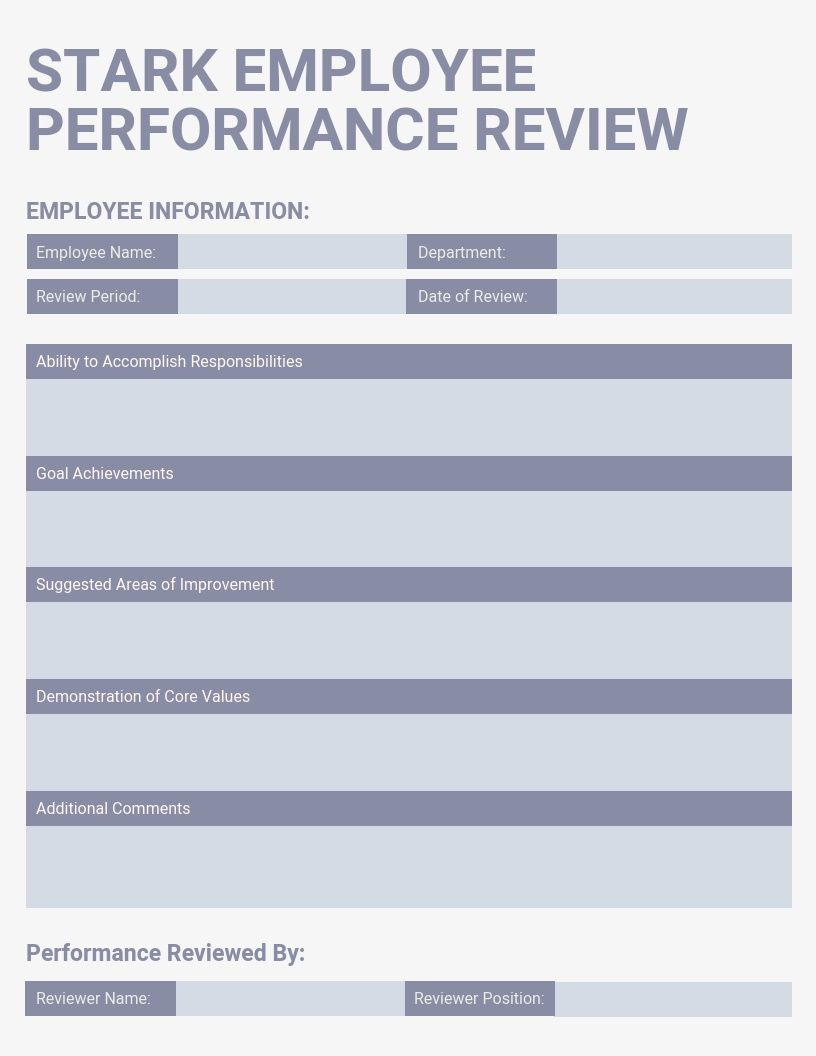 007 Fearsome Employee Performance Review Template Word Picture  Microsoft DocumentFull