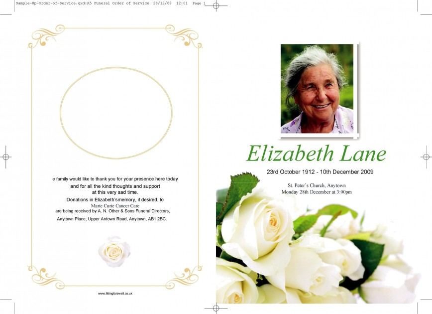 007 Fearsome Example Funeral Programme High Resolution  Template Of Program Free To Download Format