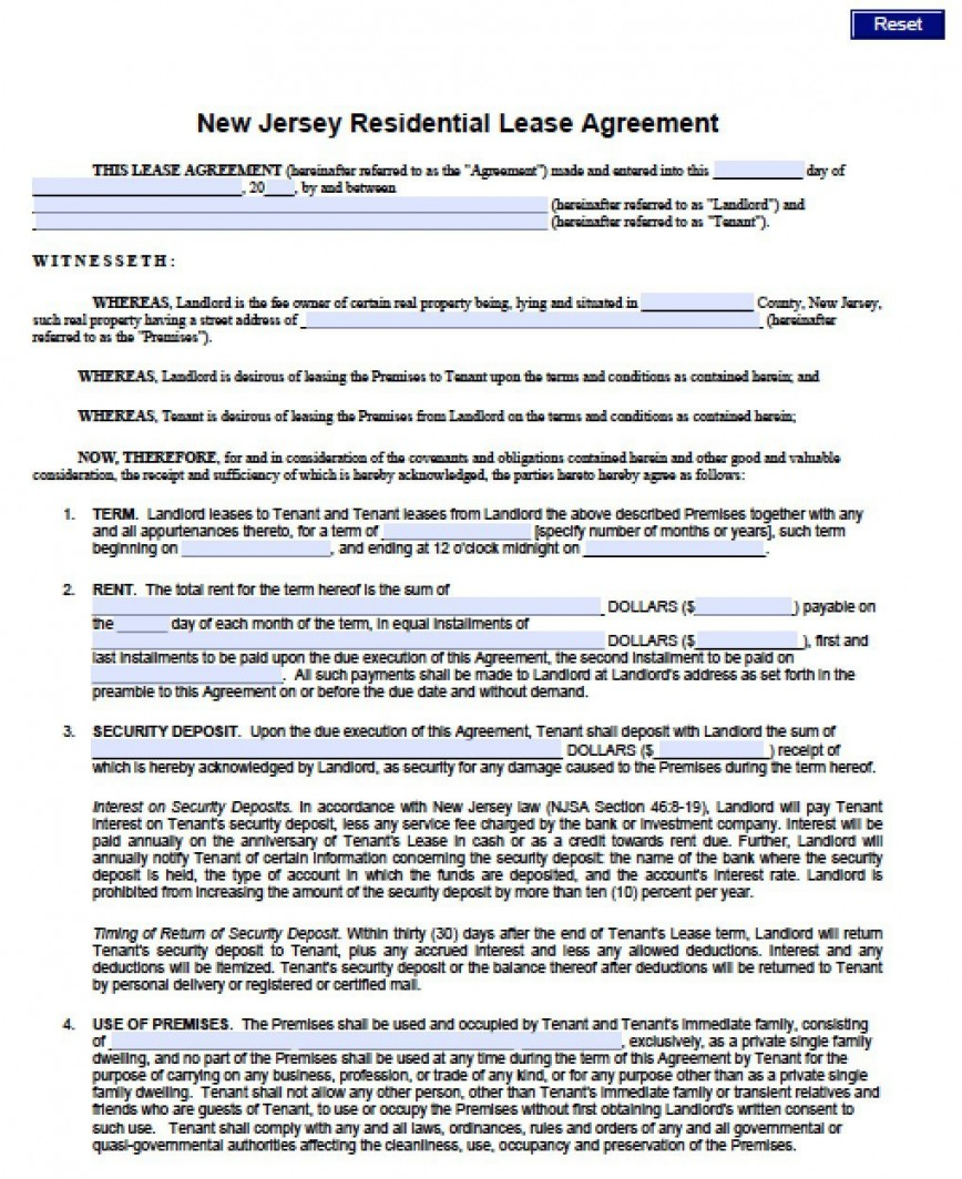 007 Fearsome Generic Rental Lease Agreement Nj Concept  Sample868