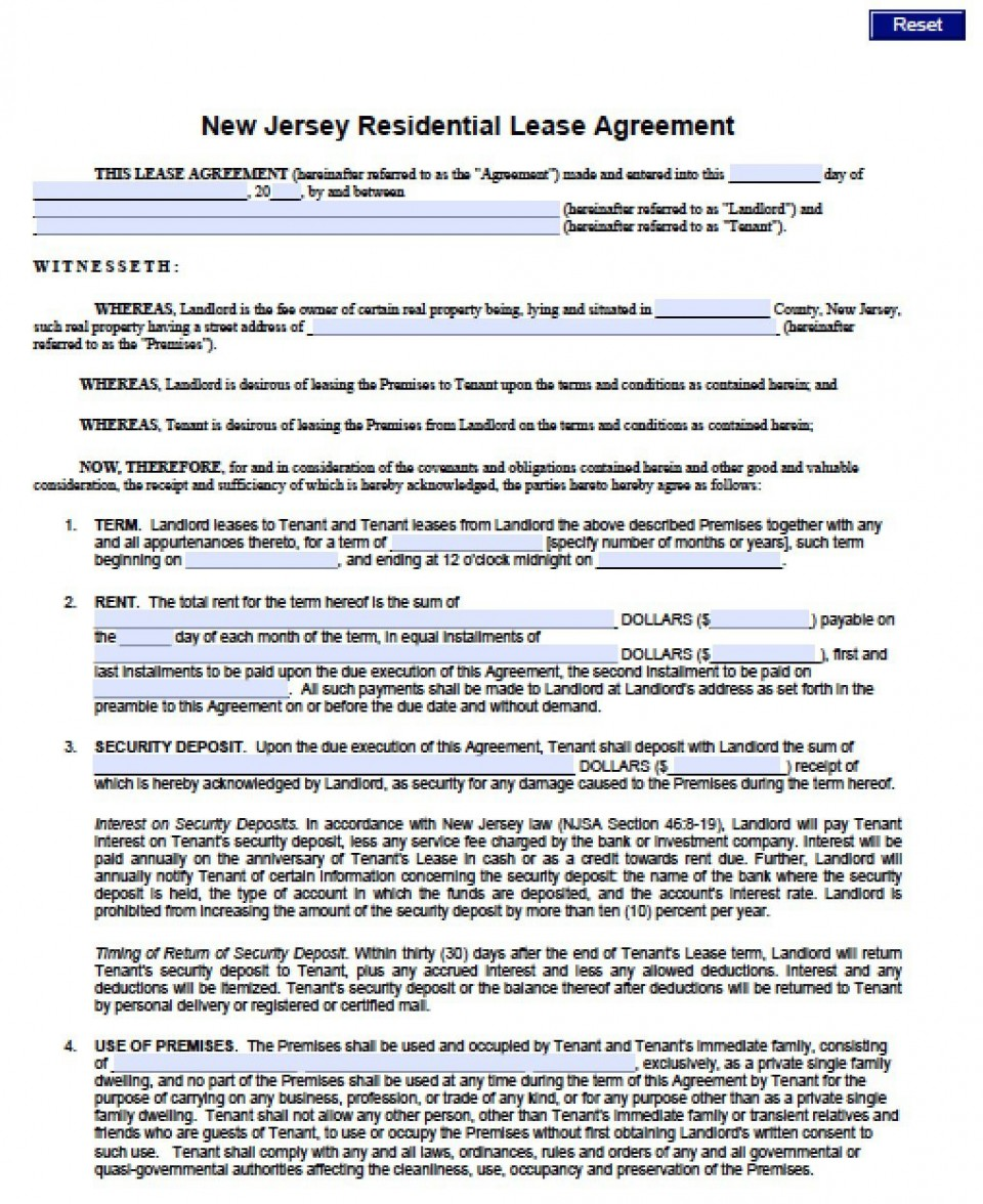 007 Fearsome Generic Rental Lease Agreement Nj Concept  Sample960