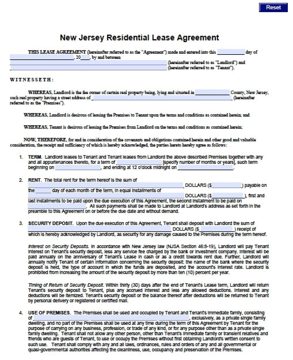 007 Fearsome Generic Rental Lease Agreement Nj Concept  SampleFull