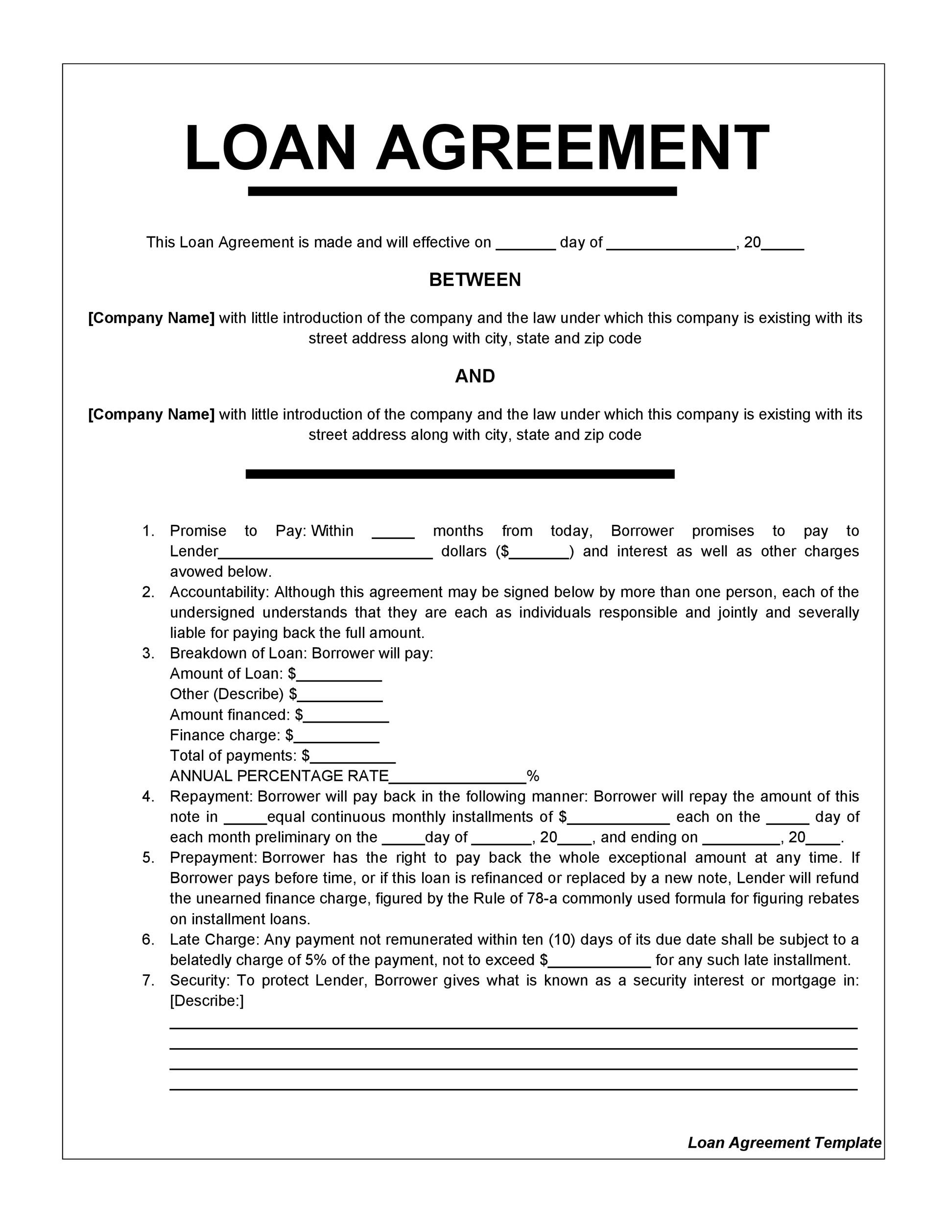 007 Fearsome Loan Agreement Template Free Image  Word Nz Family UkFull