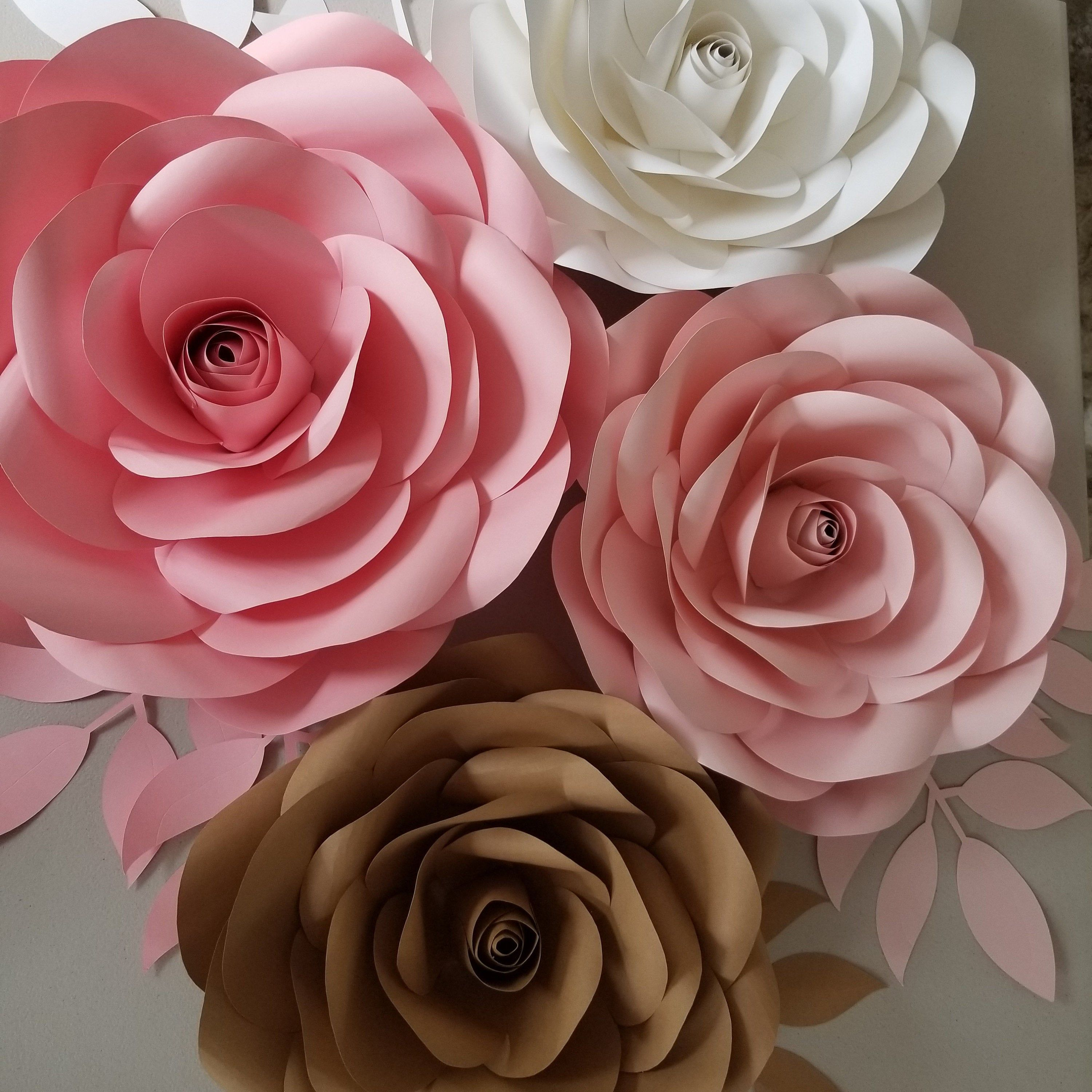 007 Fearsome Paper Rose Template Pdf Concept  Flower Giant Free CrepeFull